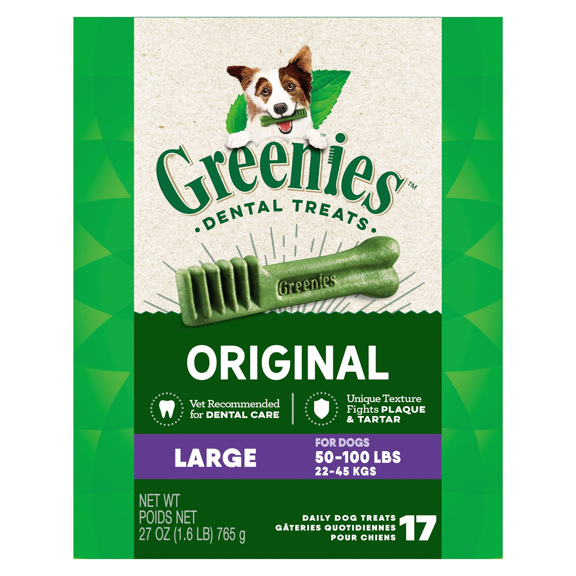 Greenies Large Dental Dog Treat size: 17 Count, Adult, Gelatin