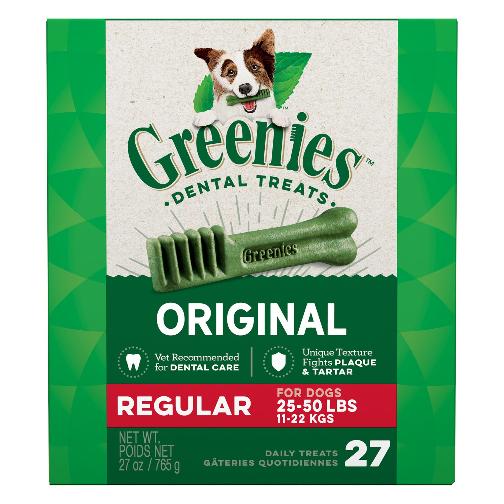 Greenies Regular Dental Dog Treat size: 27 Count, Adult, Gelatin