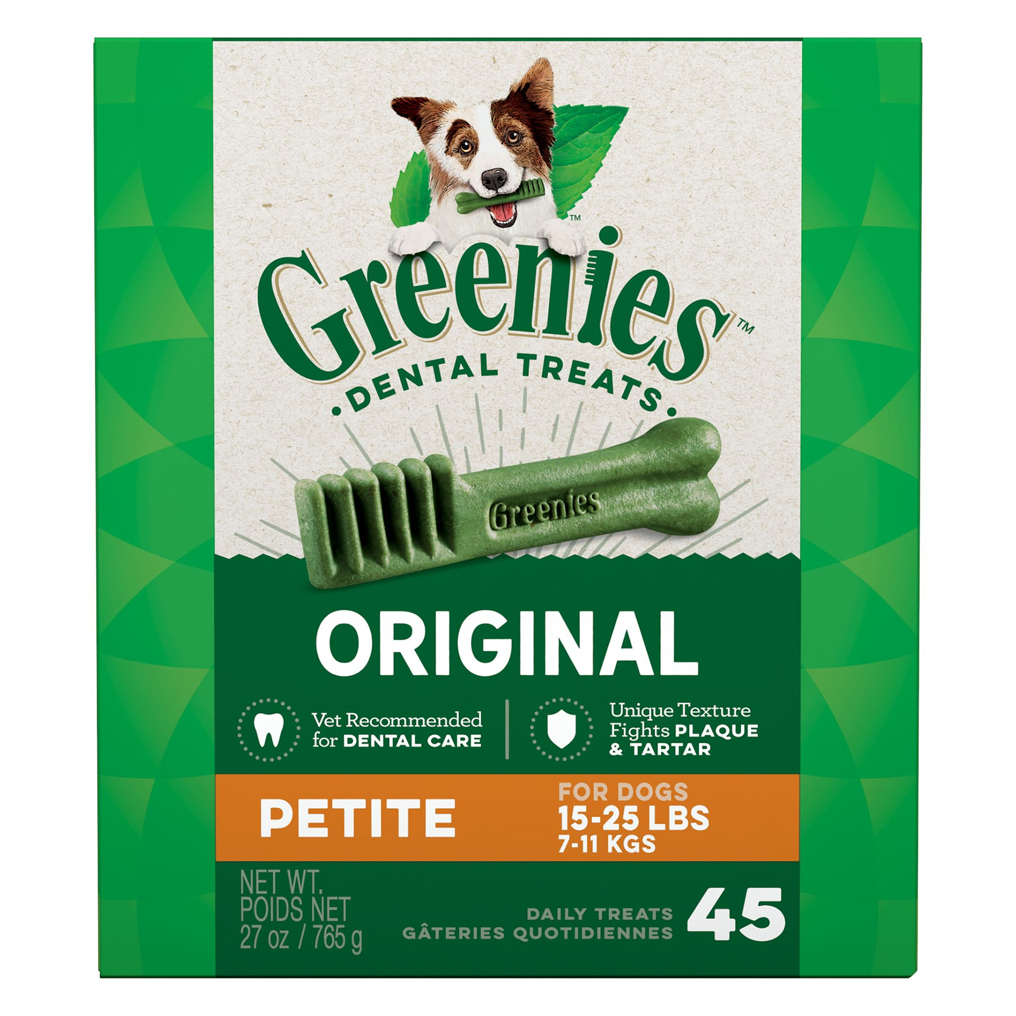 Greenies Petite Dental Dog Treat size: 45 Count, Chew, Adult, Gelatin