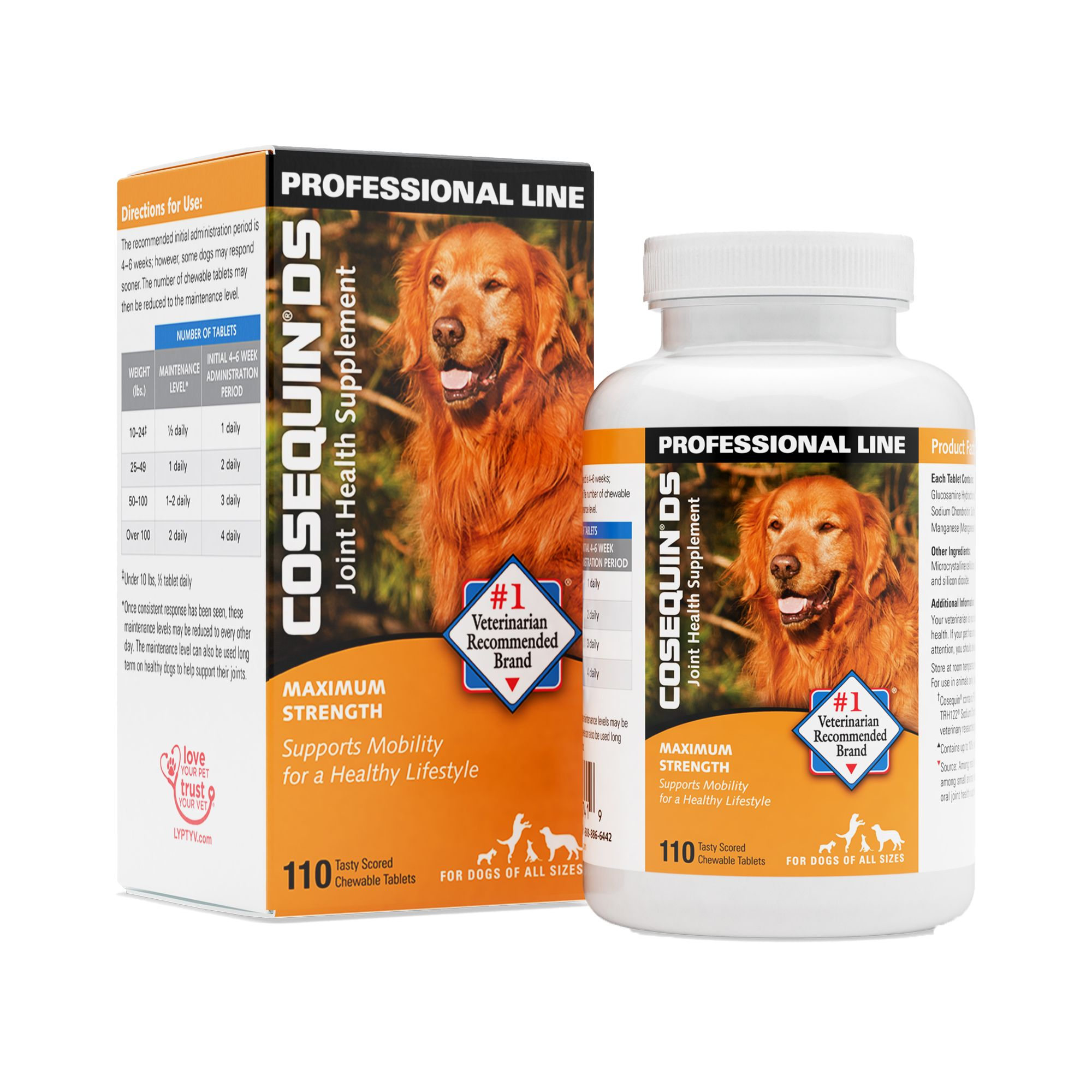 Cosequin Double Strength Joint Health Dog Chewable Size 110 Count Nutramax Laboratories