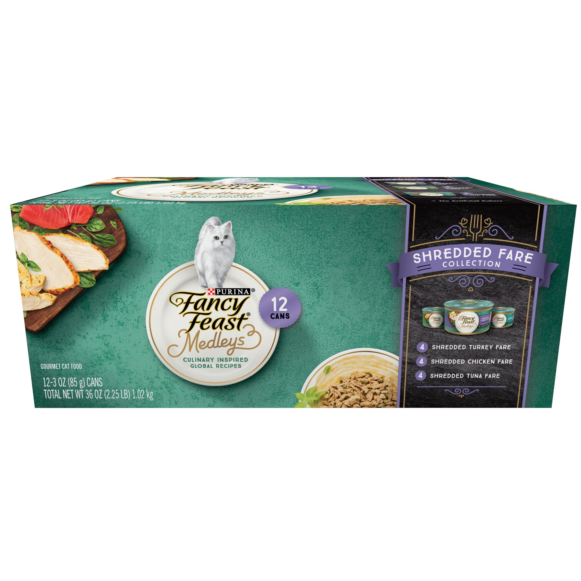 Fancy Feast Medleys Shredded Fare Adult Cat Food Variety Pack 12ct Size 3 Oz