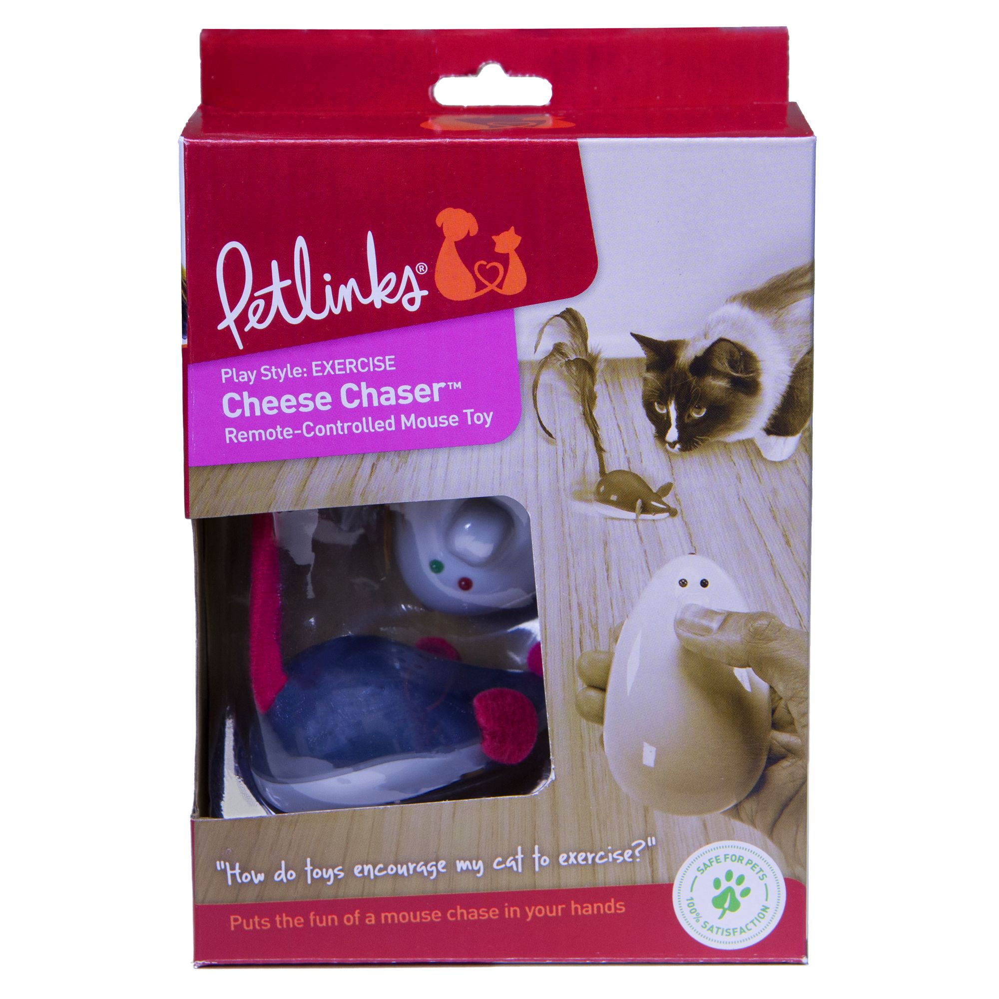 Petlinks Cheese Chaser Mouse and Remote Control Cat Toy, Gray 5126683