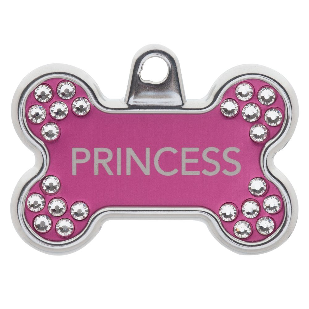 Tagworks Blingz Collection Bone Personalized Pet Id Tag Size Large Pink