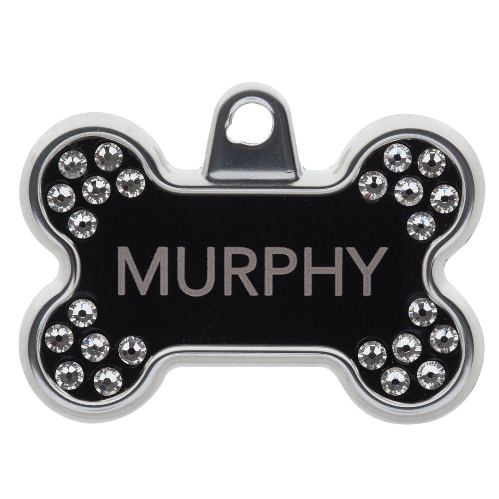Tagworks Blingz Collection Bone Personalized Pet Id Tag Size Large Black