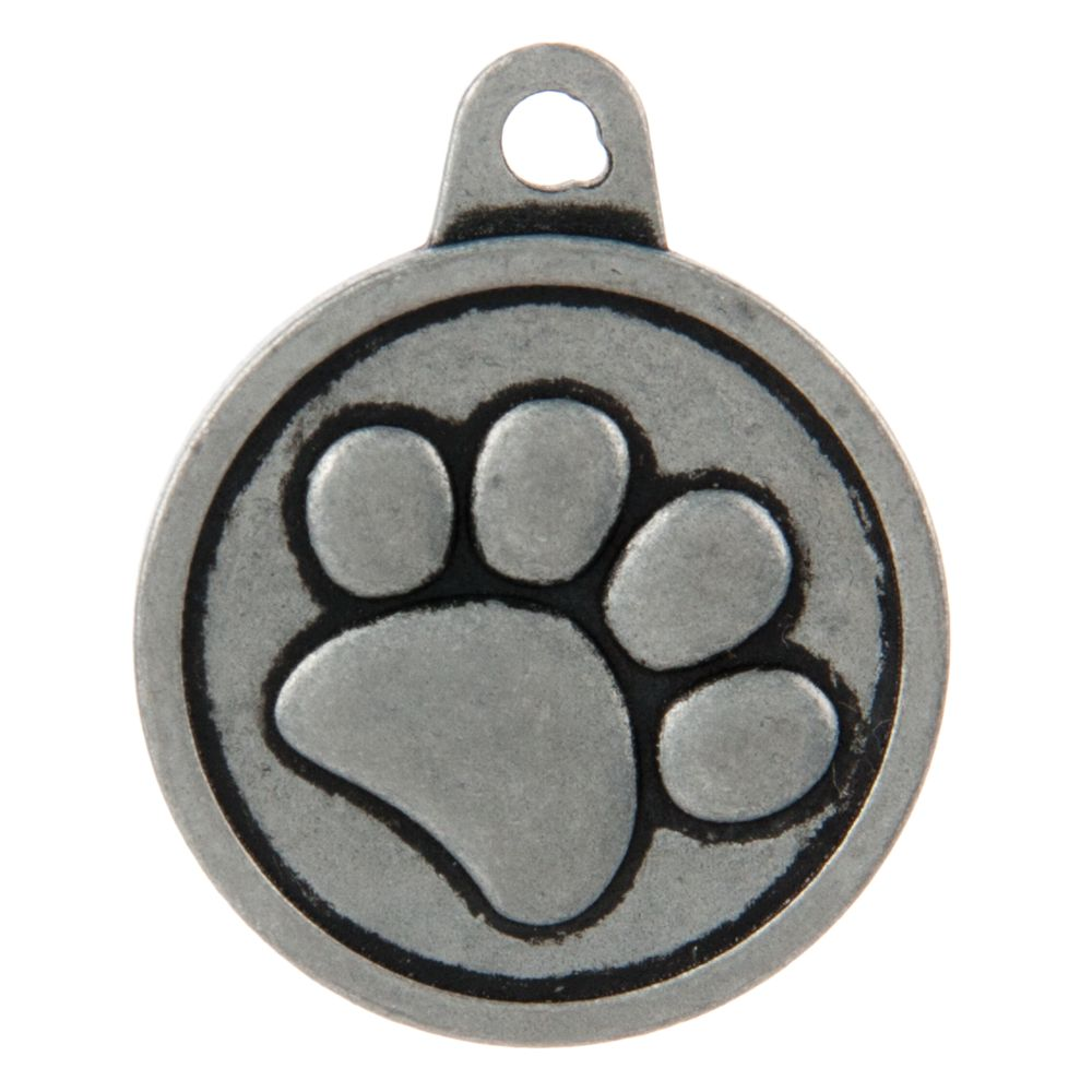 Tagworks Boutique Collection Paw Personalized Pet Id Tag Size Large Silver