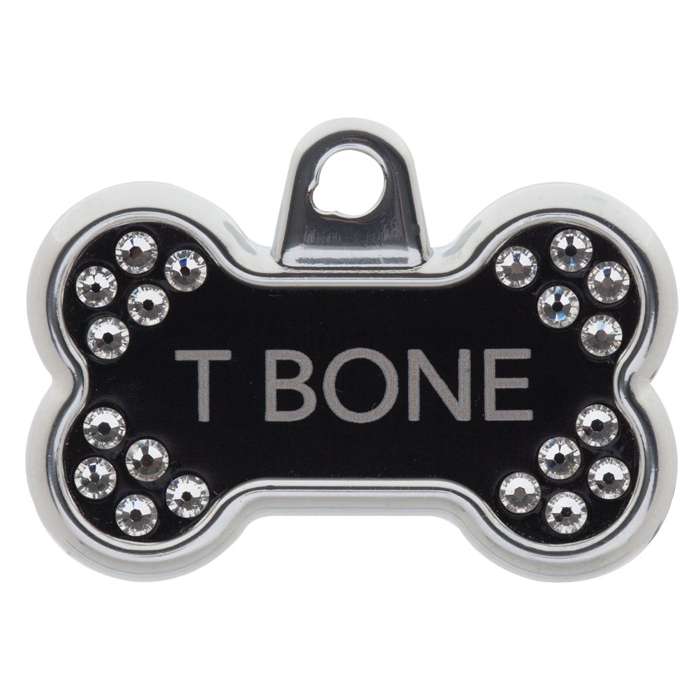Tagworks Blingz Collection Bone Personalized Pet Id Tag Size Small Black