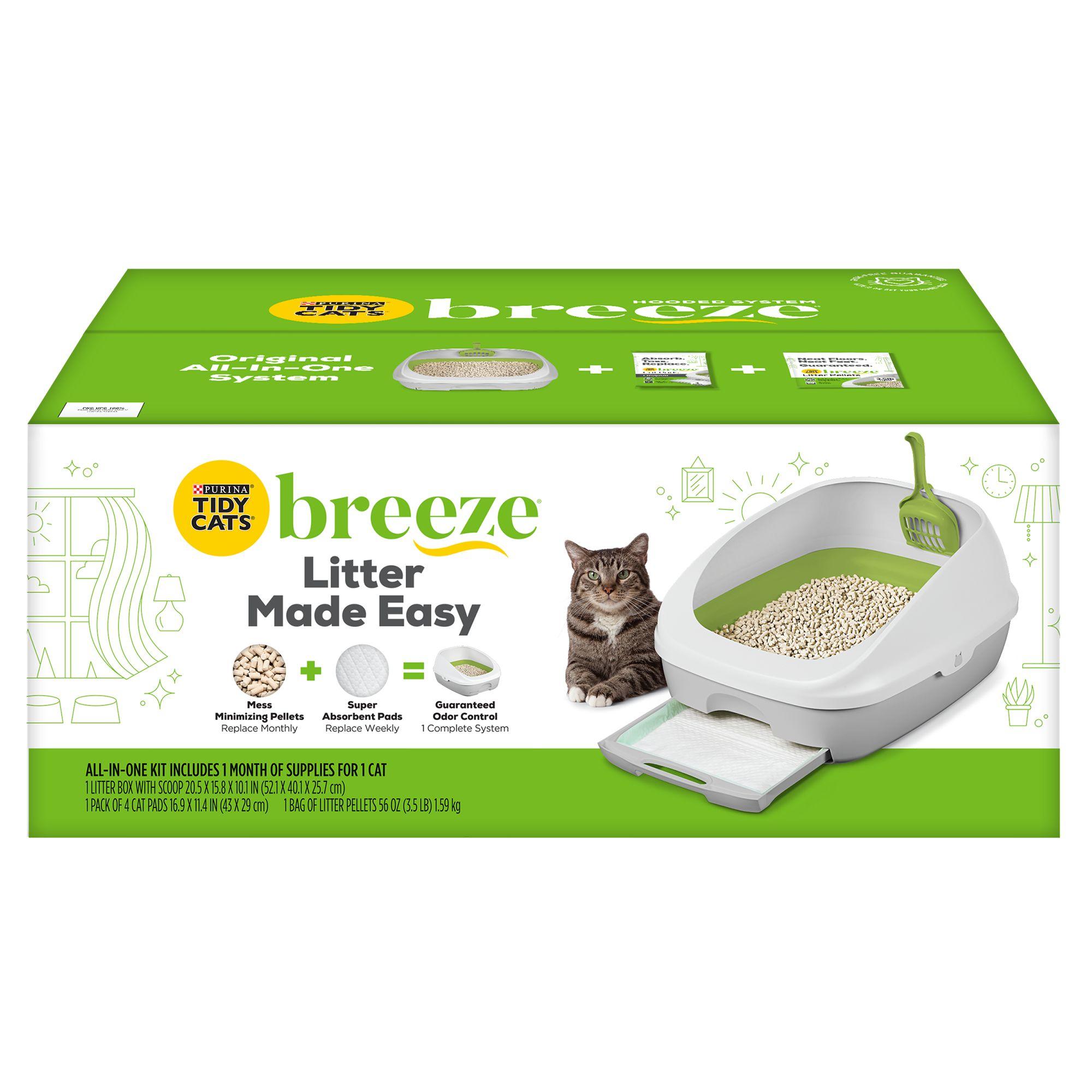 Purina Tidy Cats Breeze Cat Litter Box System Size 20.3l X 15.2w X 11.8h White Green
