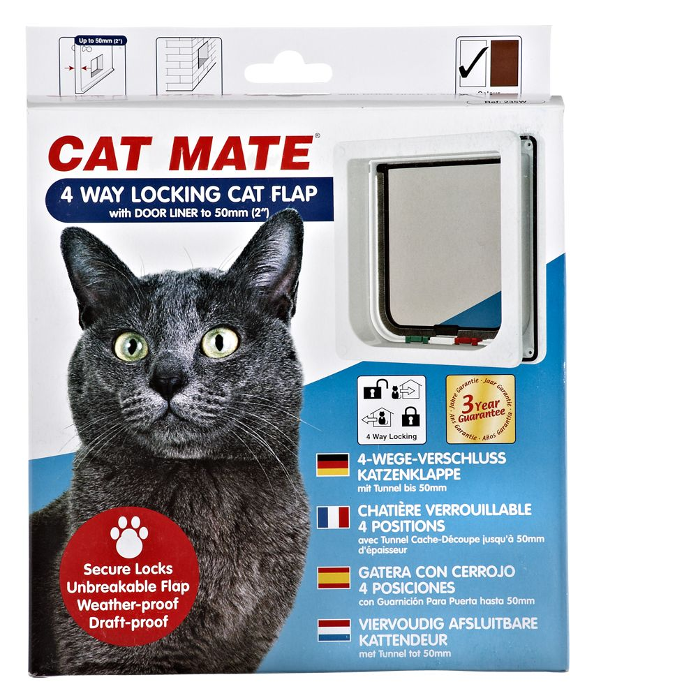 Cat Mate 4 Way Locking Cat Flap With Liner Size Medium White
