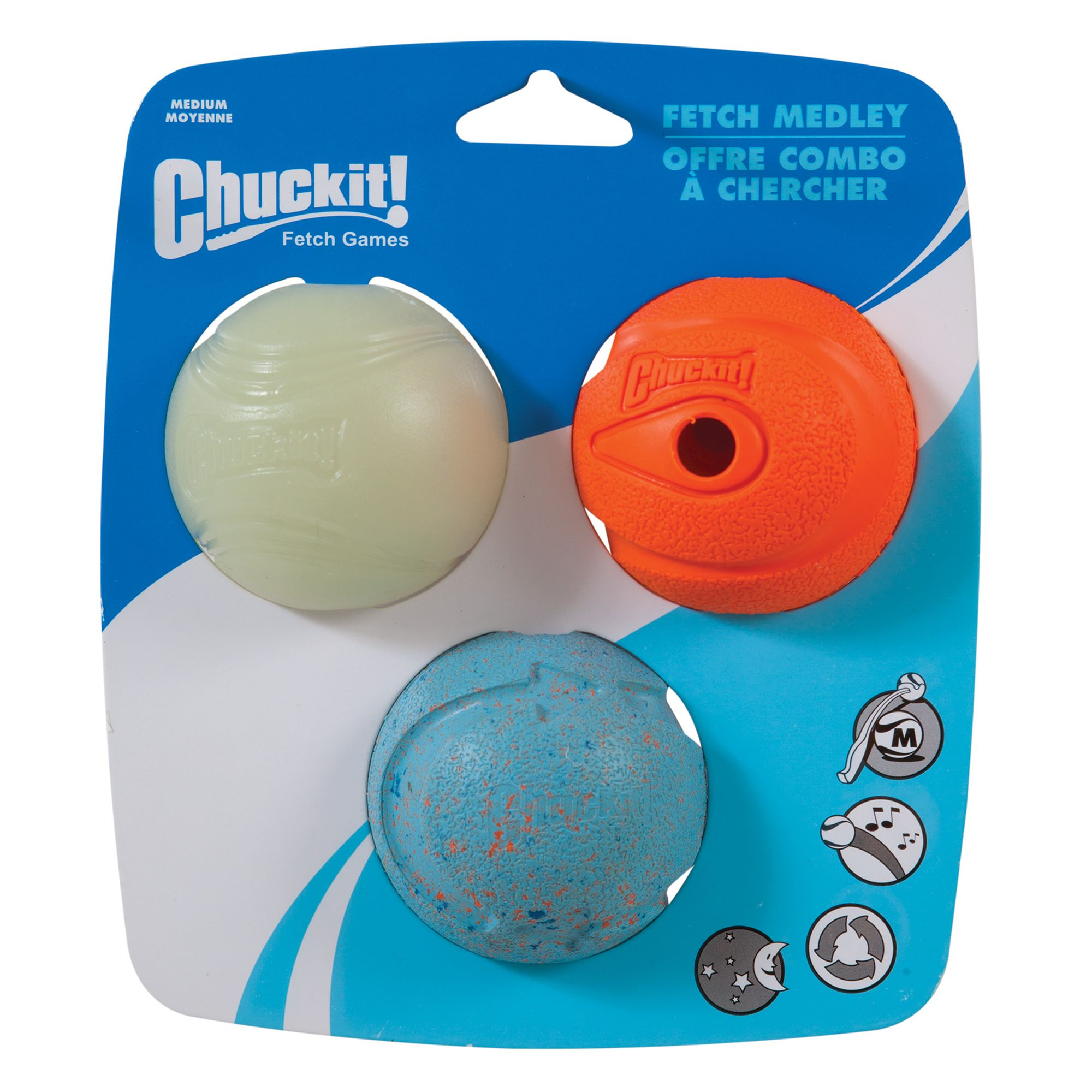Chuckit! Medley Ball Set Dog Toy size: Medium