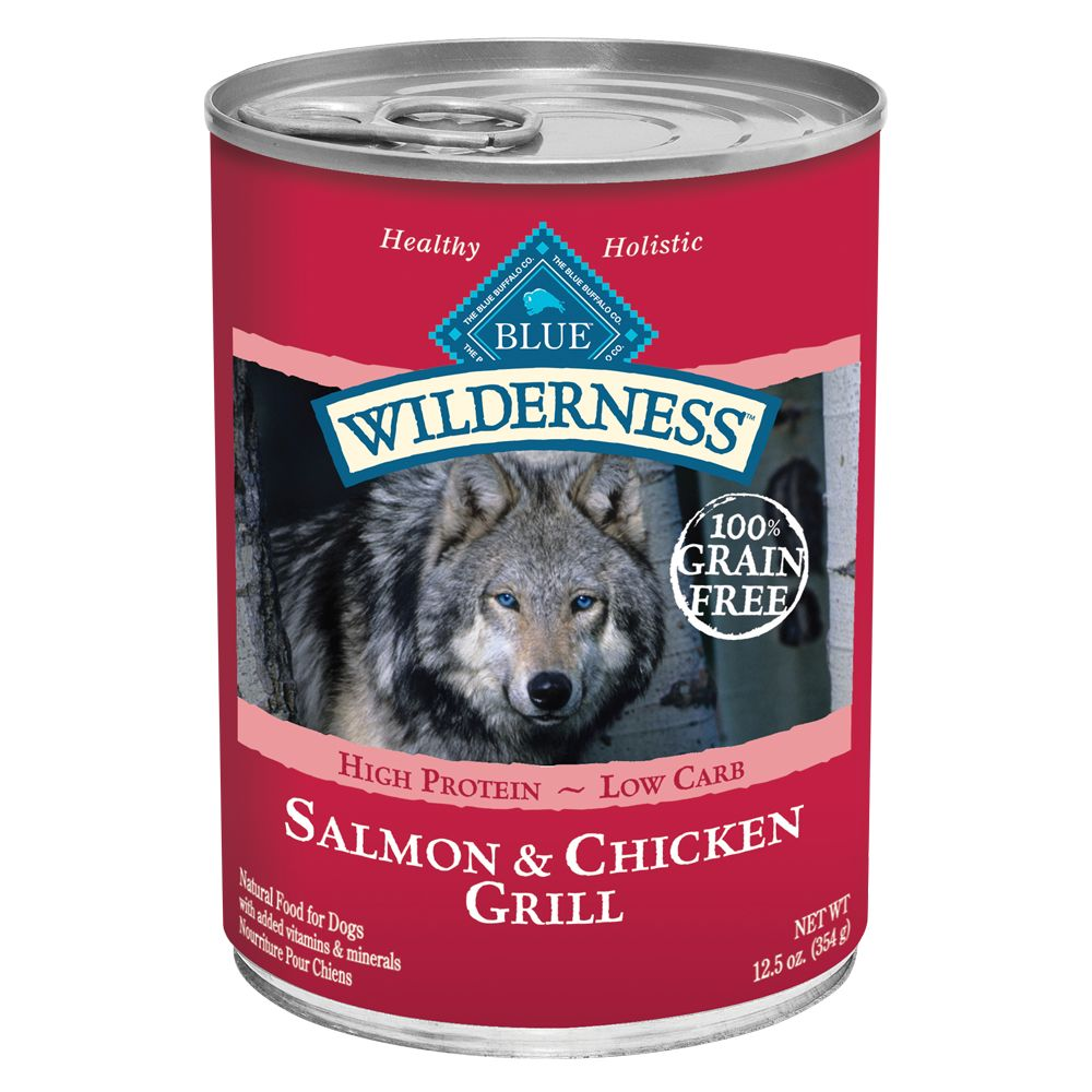 Melancholy Wilderness Adult Dog Food - Grain Free, Natural size: 12.5 Oz, Blue Buffalo, Salmon & Chicken Grill