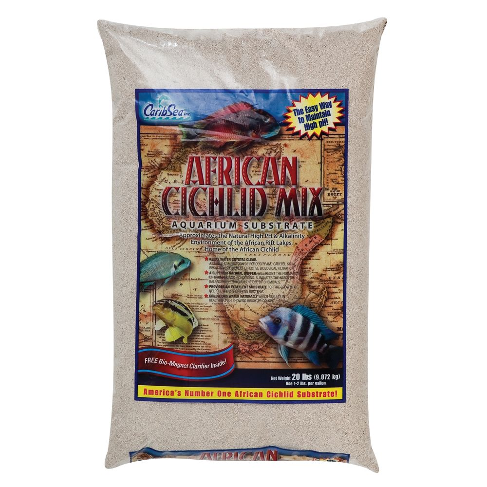 Caribsea African Cichlid Mix Aquarium Substrate Size 20 Lb White