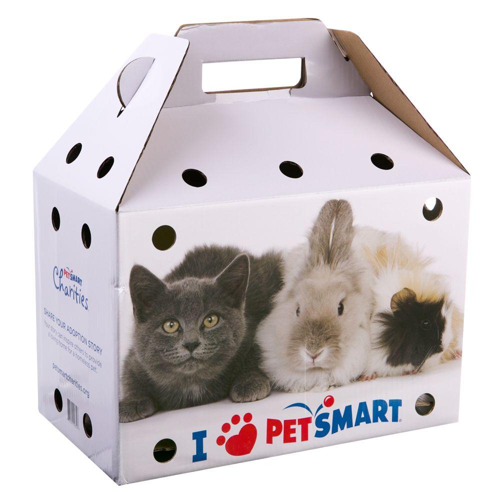 Grreat Choice Adoption Box Pet Carrier Size 16l X 9w X 10.5h Blue And White