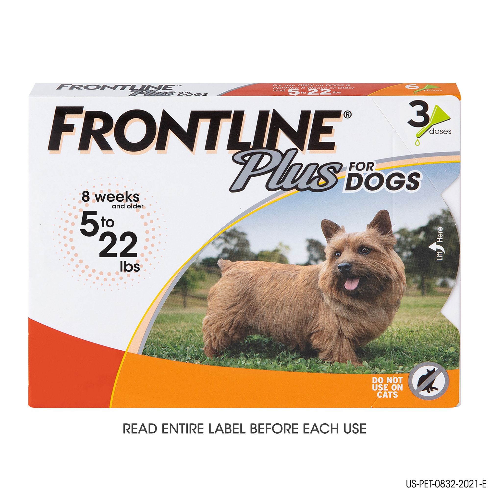 Frontline Plus 5 22 Lb Dog Flea And Tick Treatment Size 3 Count