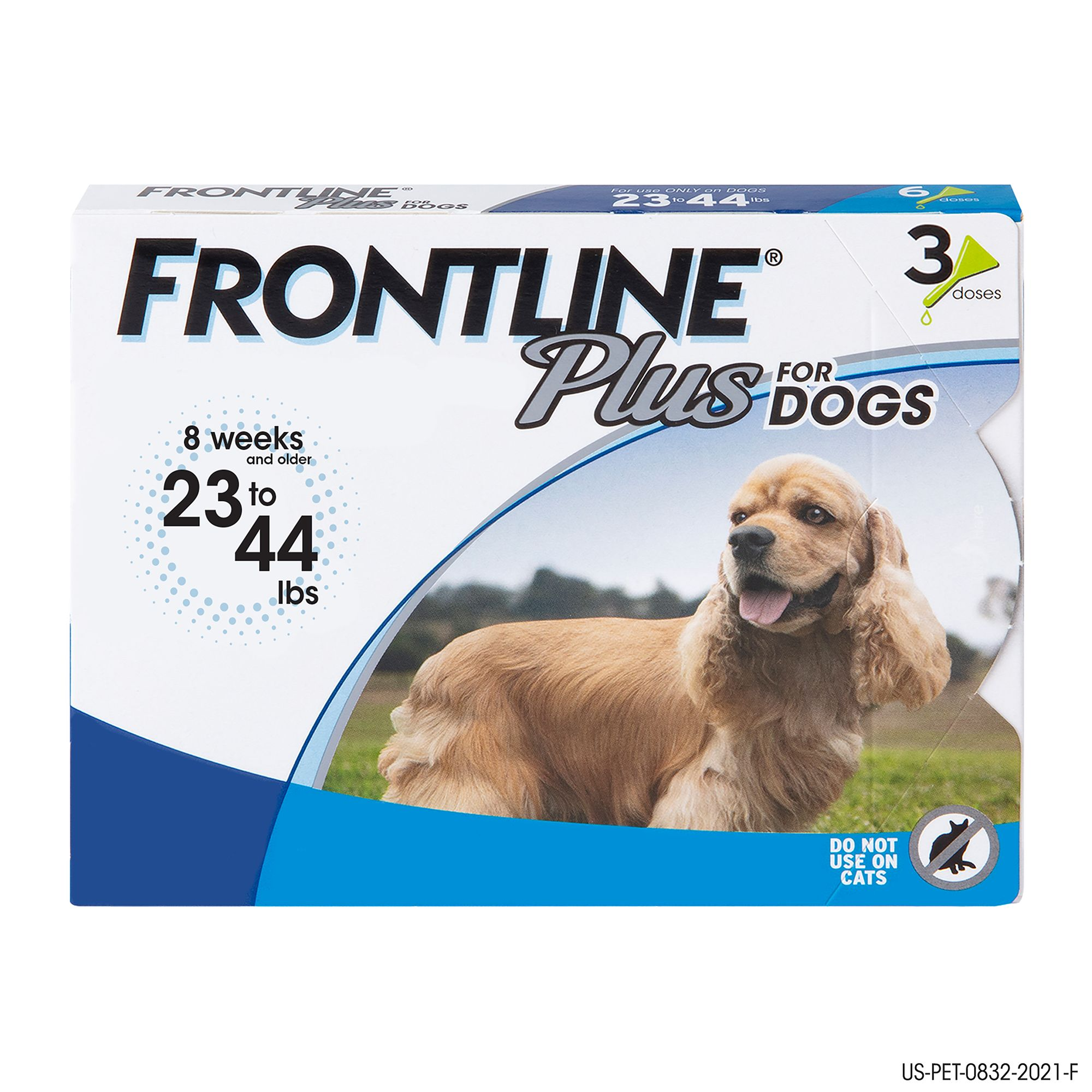 Frontline Plus 23 44 Lb Dog Flea And Tick Treatment Size 3 Count