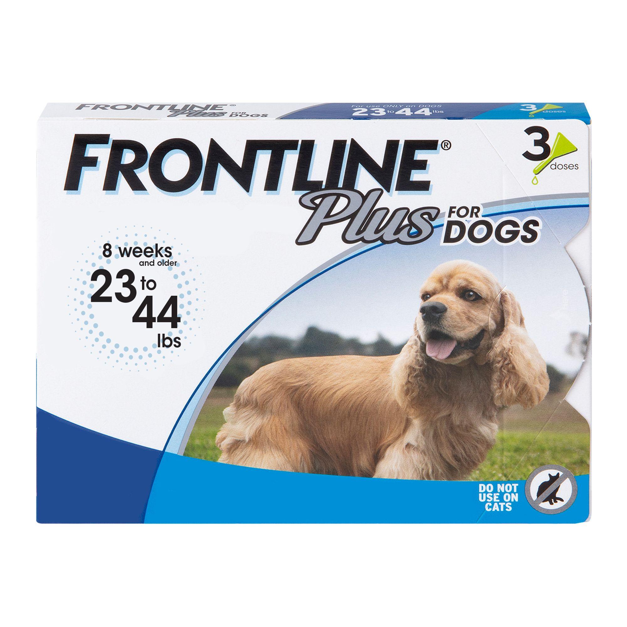 Frontline Plus 23 44 Lb Dog Flea And Tick Treatment Size 3 Count