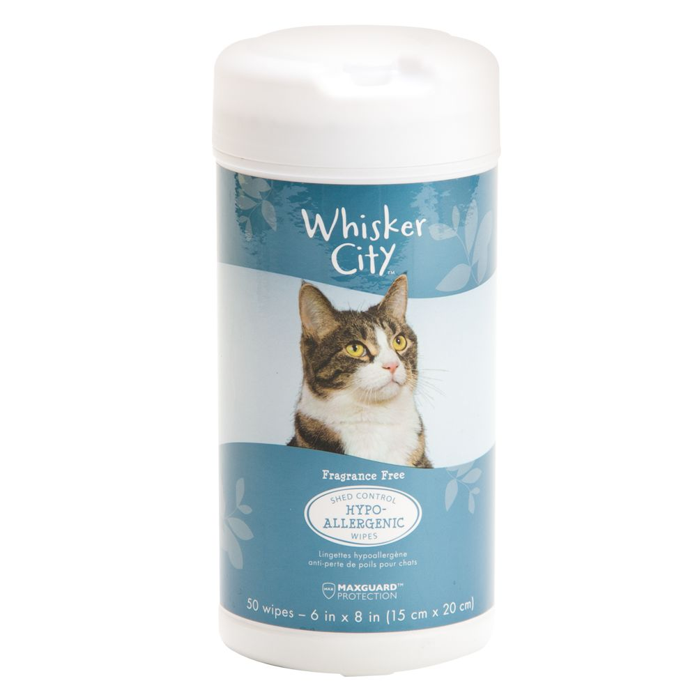 Whisker City Hypoallergenic And Shed Control Cat Wipes Size 50 Count