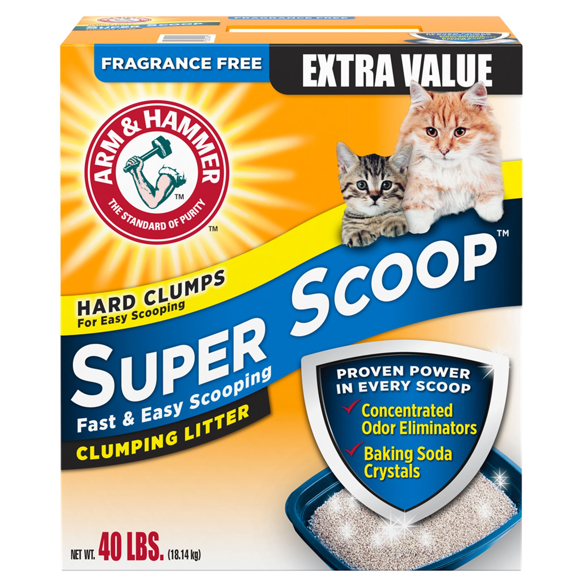 Arm & Hammer Super Scoop Clumping Litter, Unscented, 26.3 -P