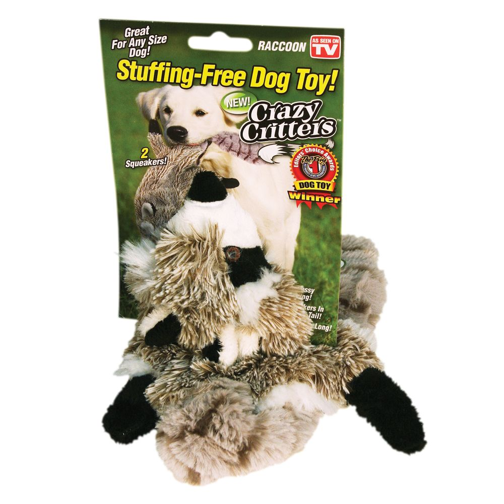 As Seen On Tv Crazy Critters Raccoon Dog Toy Stuffing Free Squeaker