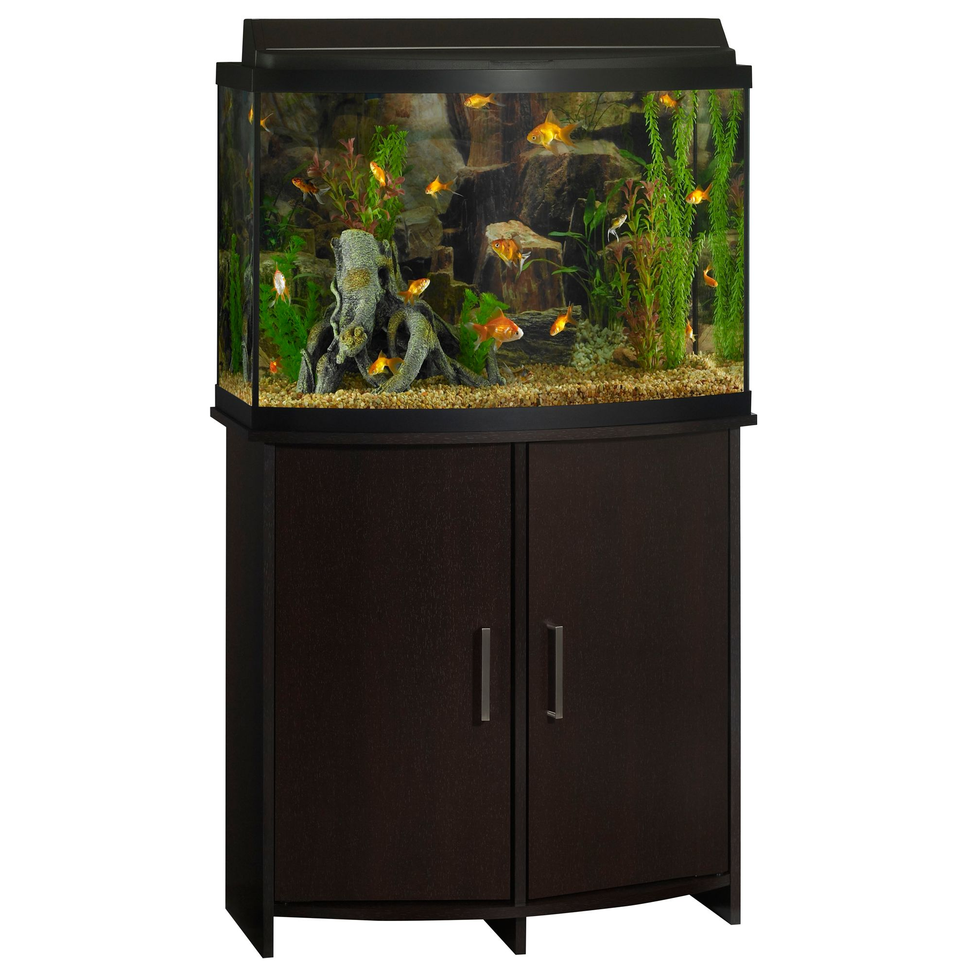 Top fin bowfront aquarium stand size 36 gal black for Petsmart fish tank stand