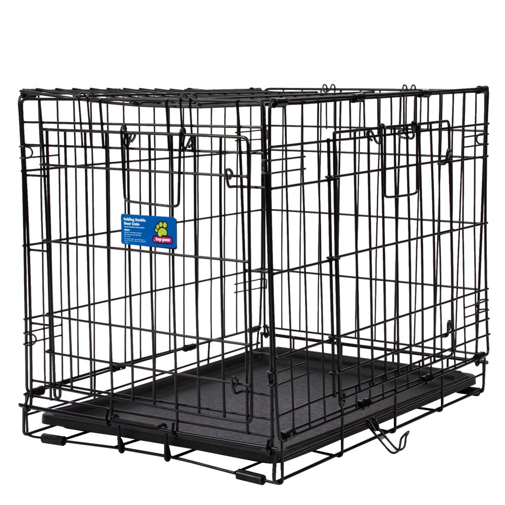 Top Paw Double Door Wire Dog Crate Size 24l X 18w X 19h Black