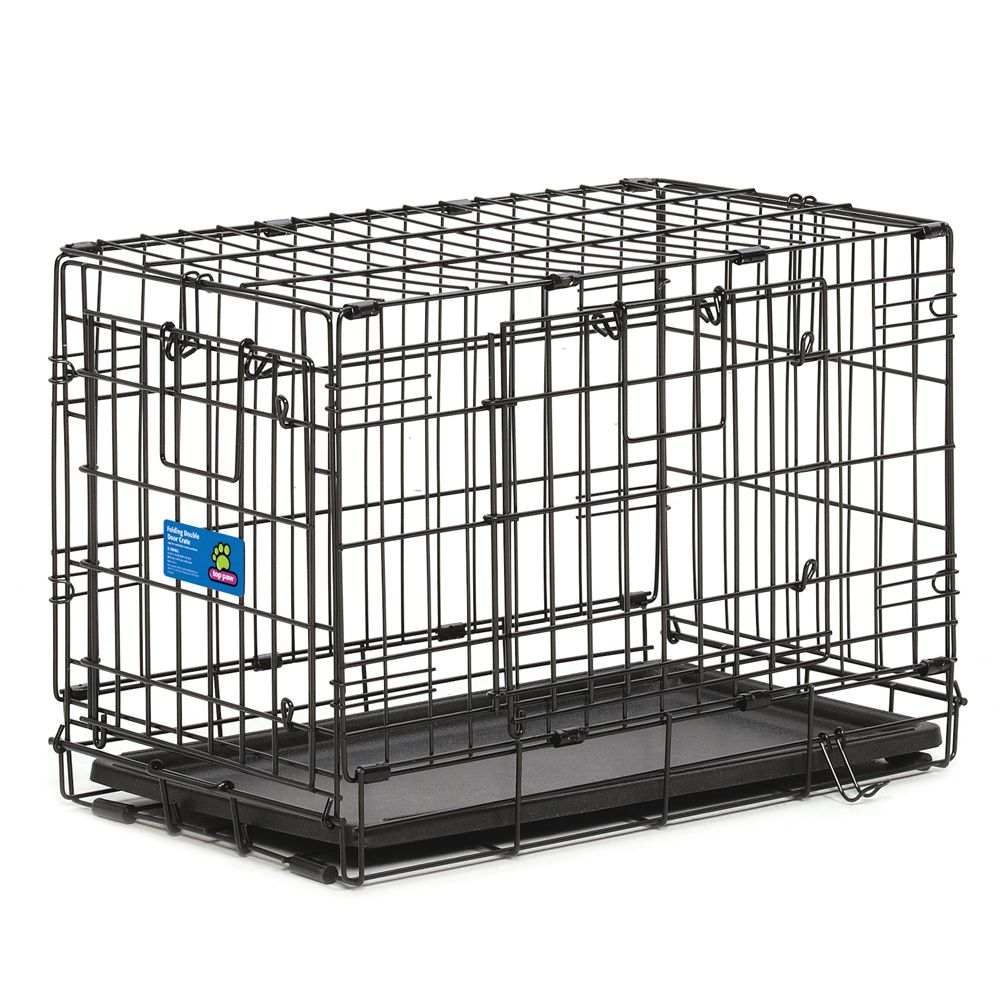 "Top Paw® Double Door Dog Crate size: 22""L x 13""W x 16""H, Black 5154018"