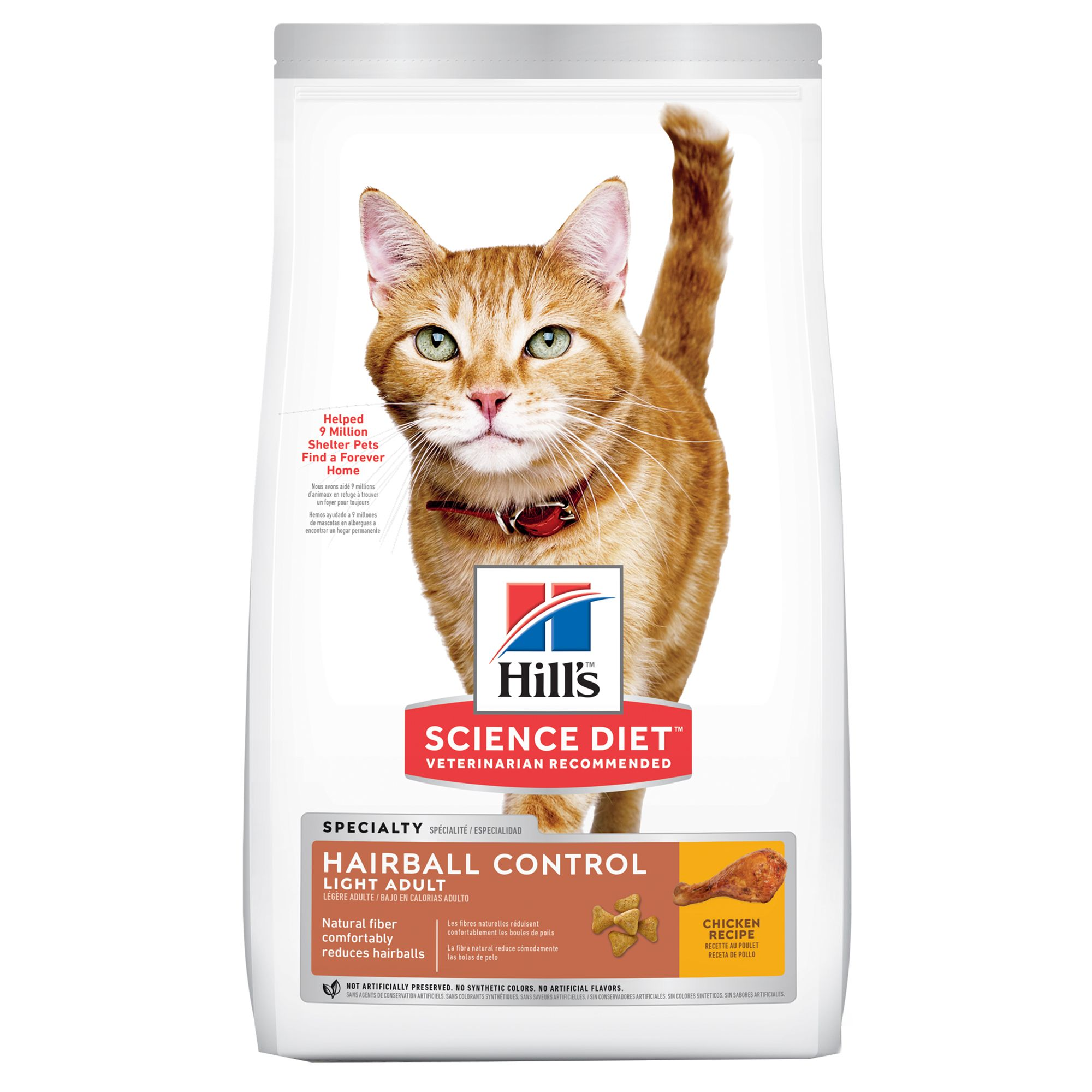 Hill's Science Diet Hairball Control Light Adult Cat Food - Chicken size: 15.5 Lb, Kibble 5154819