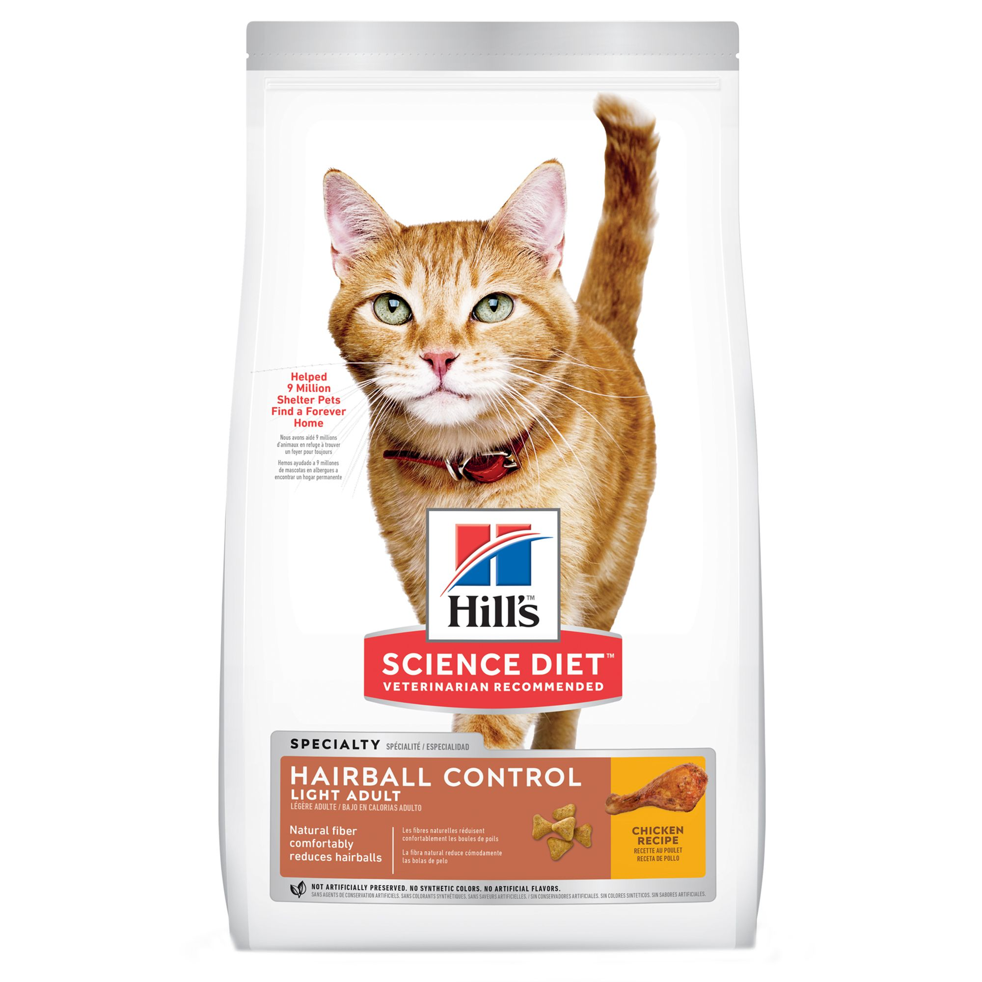 Hill's Science Diet Hairball Control Light Adult Cat Food - Chicken size: 7 Lb, Kibble 5154823