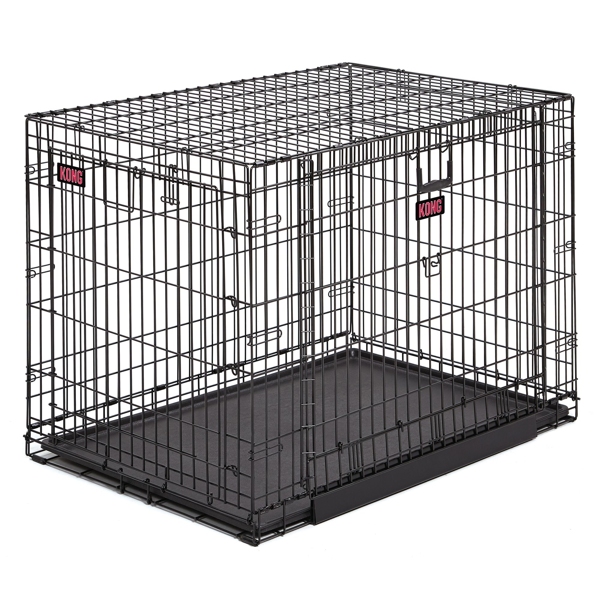 Kong Space Saving Double Door Pet Crate Size 43l X 29w X 30.5h Black