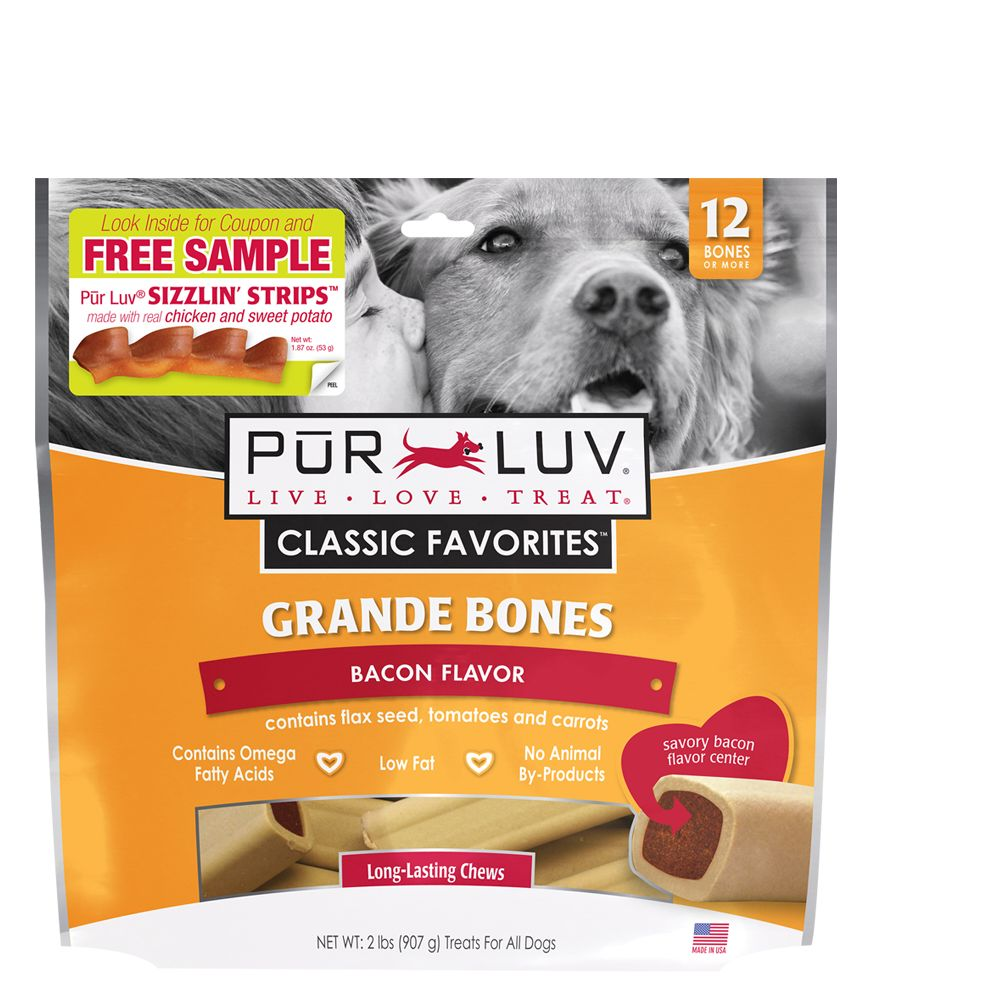 Pur Luv Grande Bones Dog Treat Size 12 Count