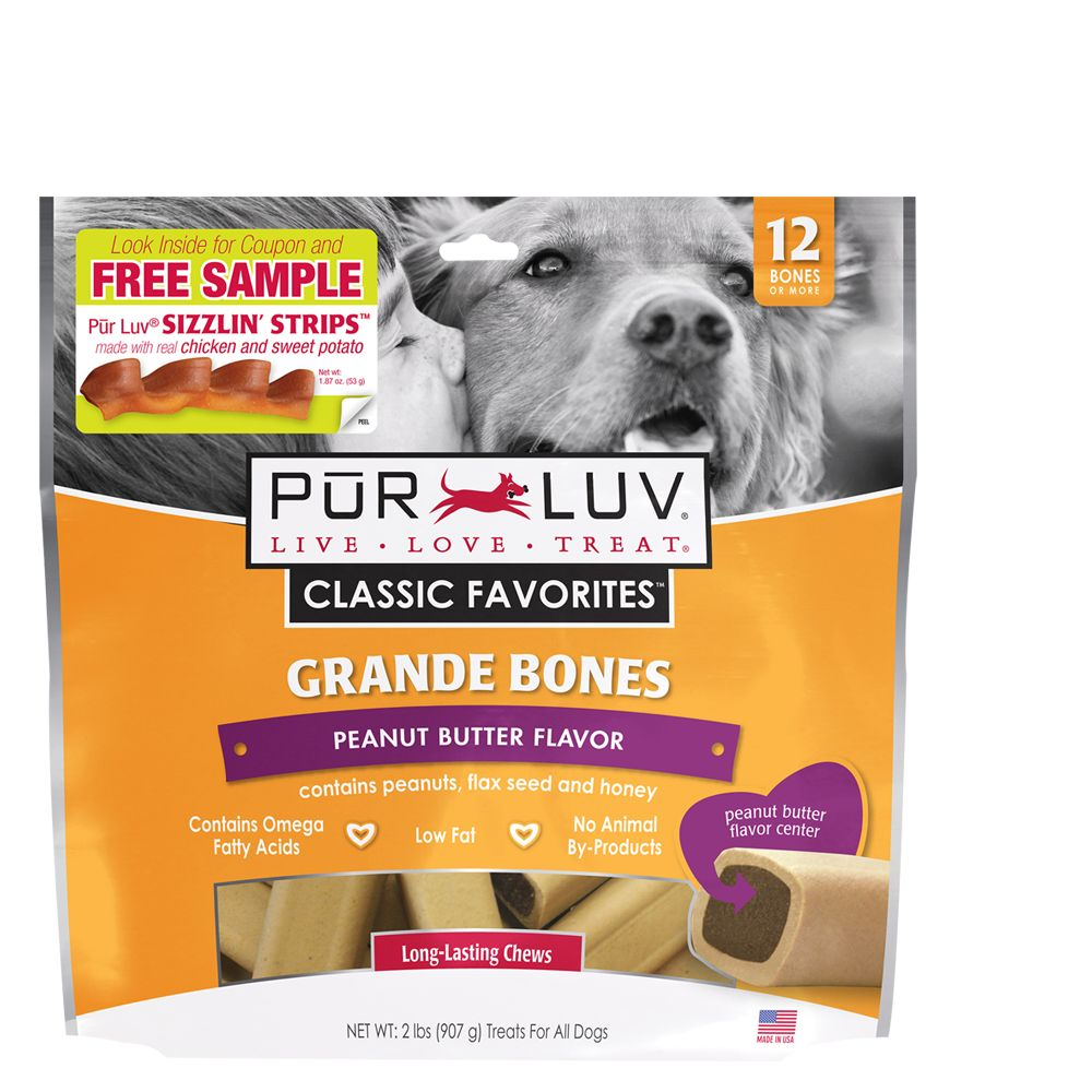 Pur Luv Grande Bones Dog Treats Size 12 Count