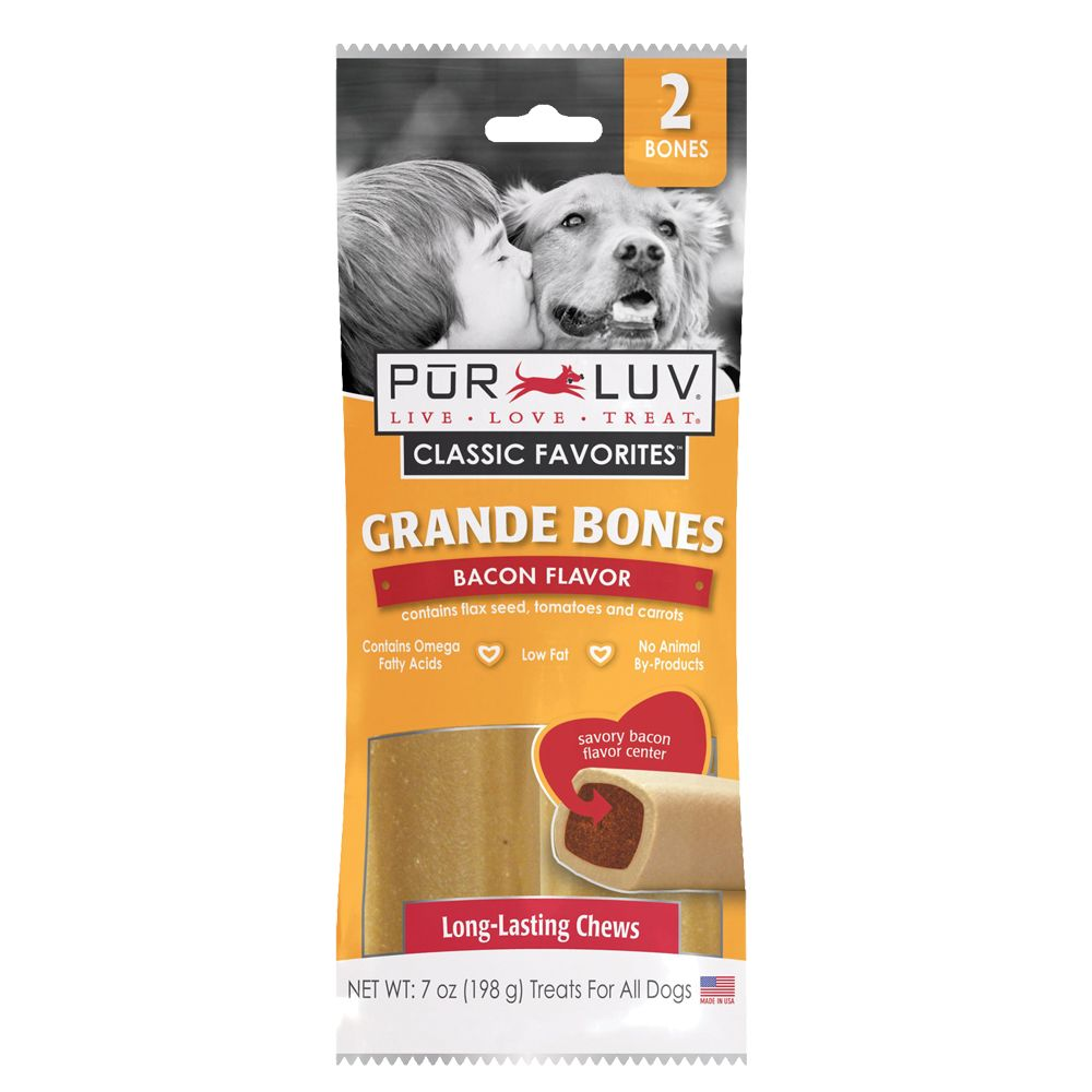 Pur Luv Grande Bones Dog Treat Size 2 Count