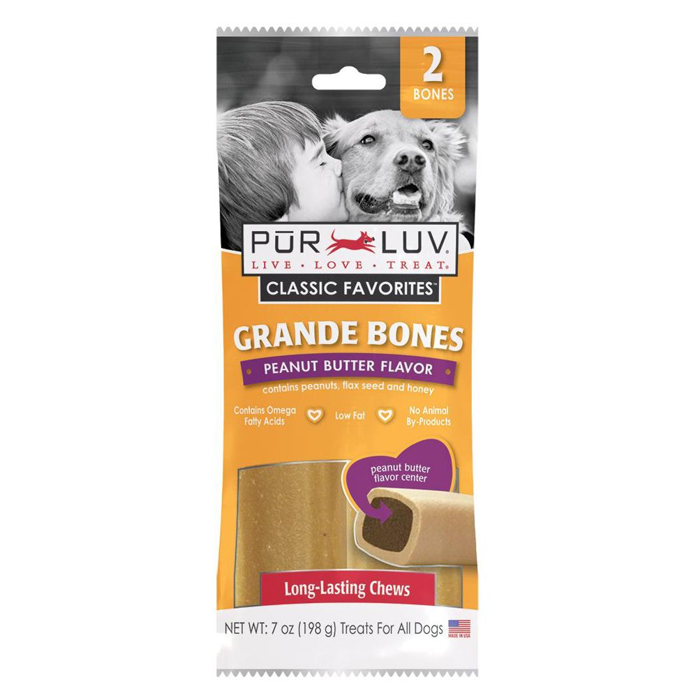 Pur Luv Grande Bones Dog Treats Size 2 Count