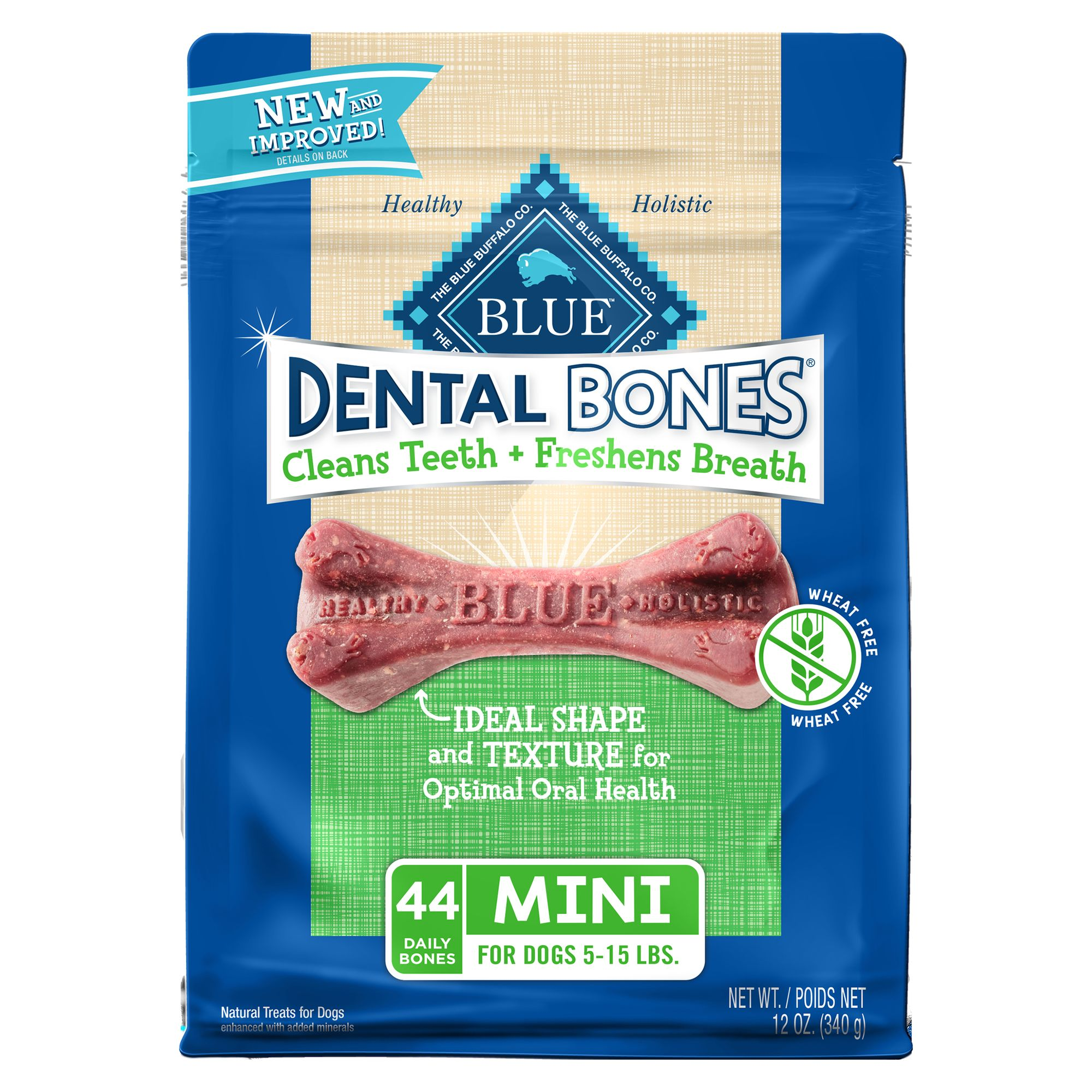 Blue Dental Bones, Mini Dog Treat - Natural size: 12 Oz, Blue Buffalo, Adult, Potato