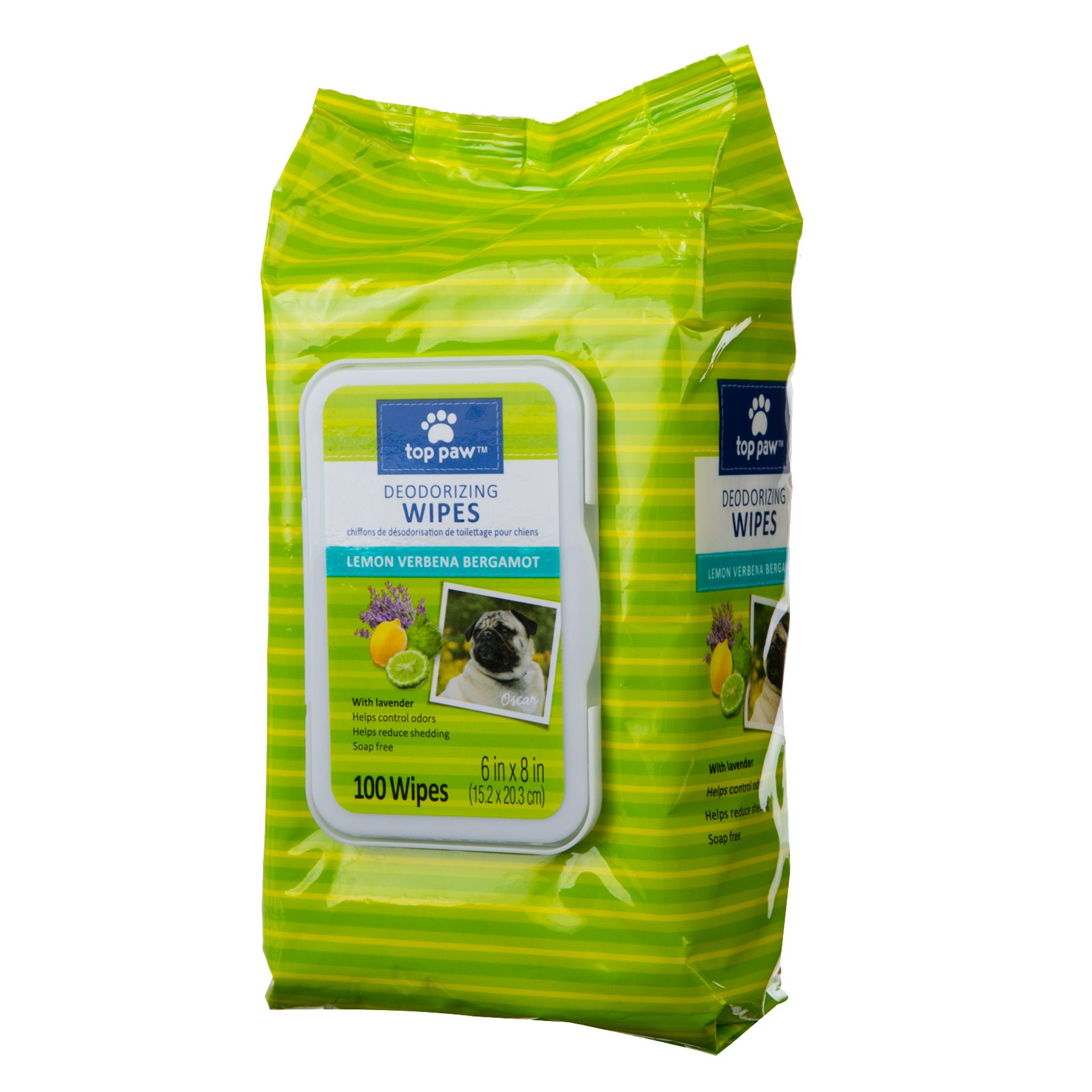 Top Paw Lemon Verbena Bergamont Deodorizing Dog Wipes Size 100 Count