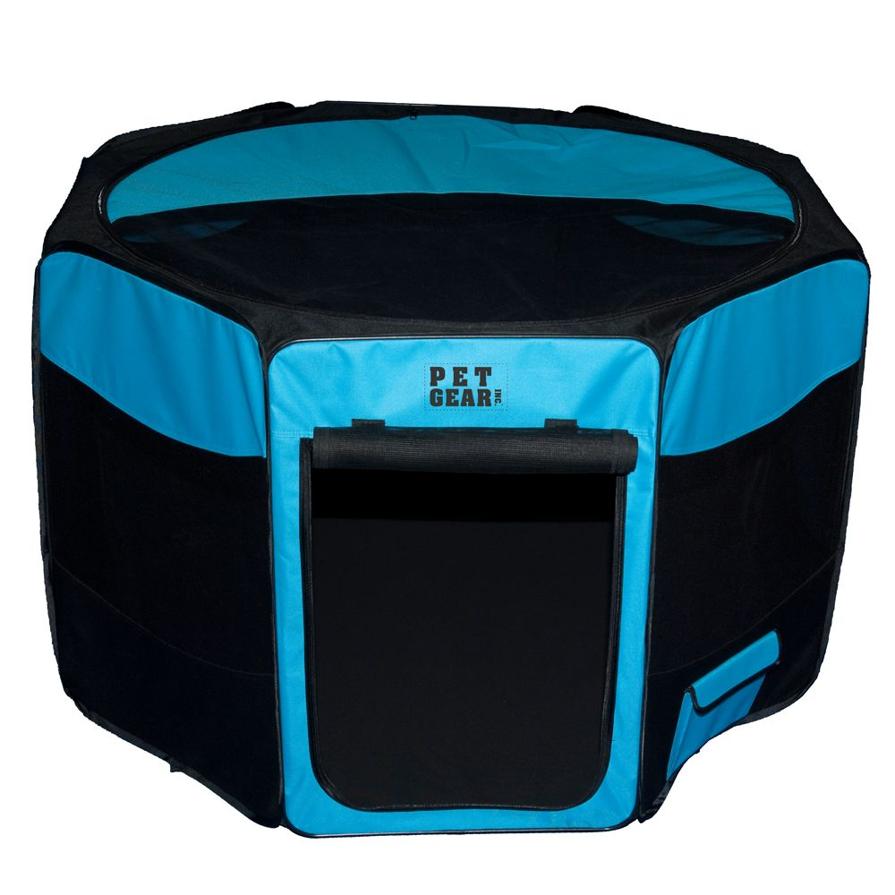 "Pet Gear Travel Lite Octagon Pet Pen size: 27""L x 27""W x 17""H, Blue"