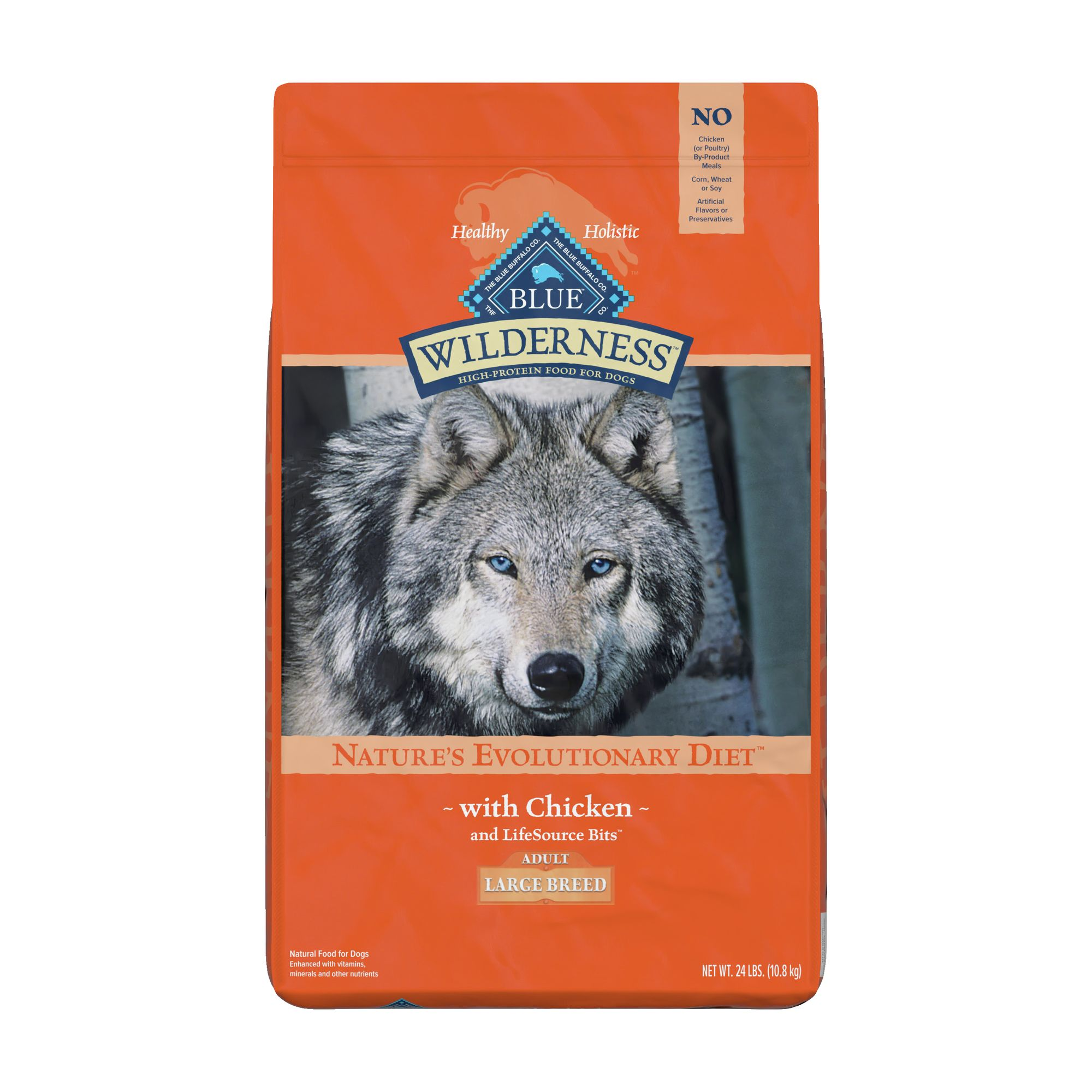Blue Wilderness Large Breed Adult Dog Food - Grain Free, Natural, Chicken size: 24 Lb, Blue Buffalo 5162729