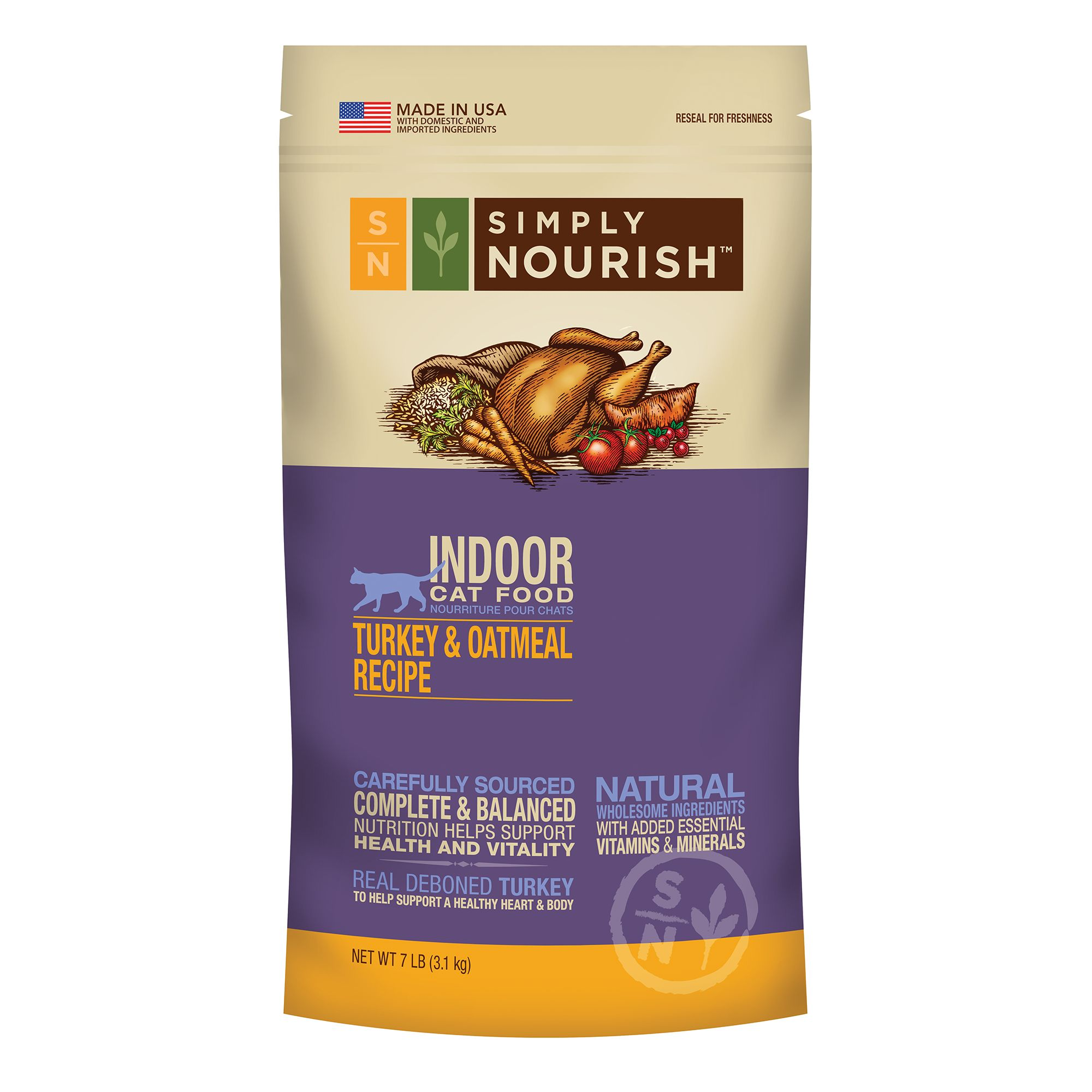 Simply Nourish Indoor Cat Food Natural Turkey And Oatmeal Size 7 Lb