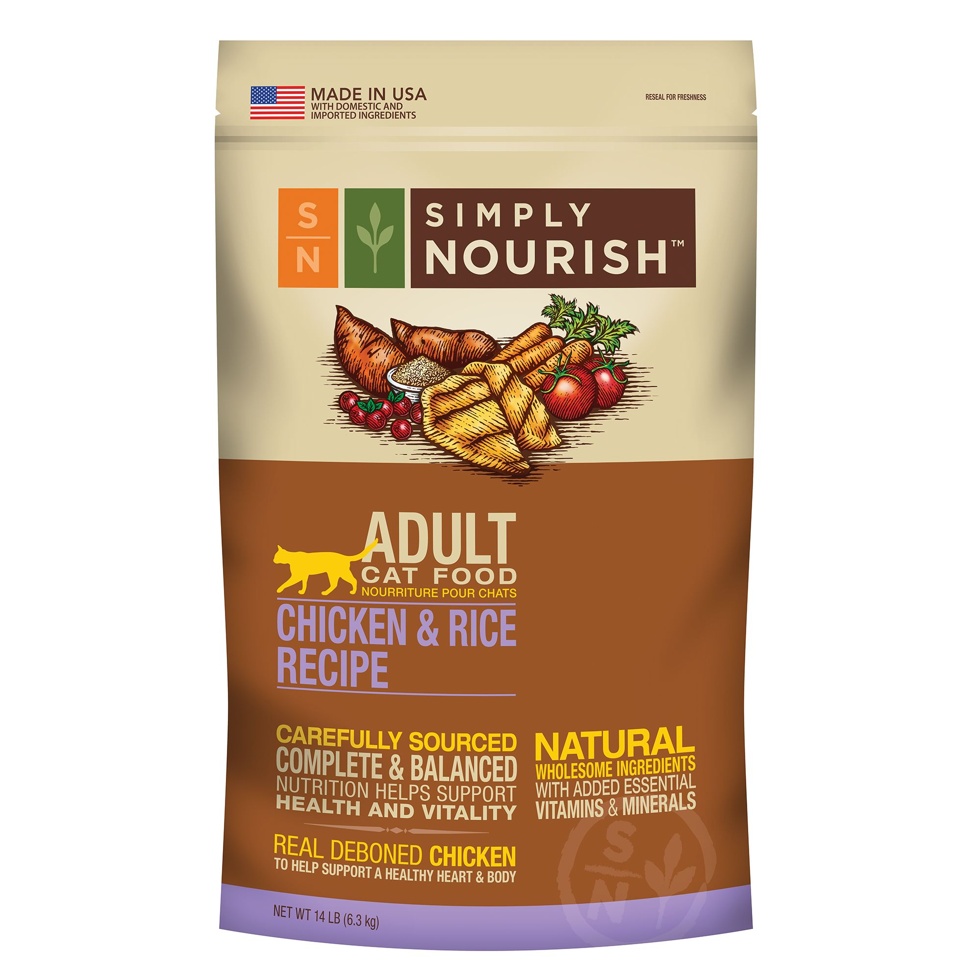 Simply Nourish Adult Cat Food Natural Chicken And Rice Size 14 Lb