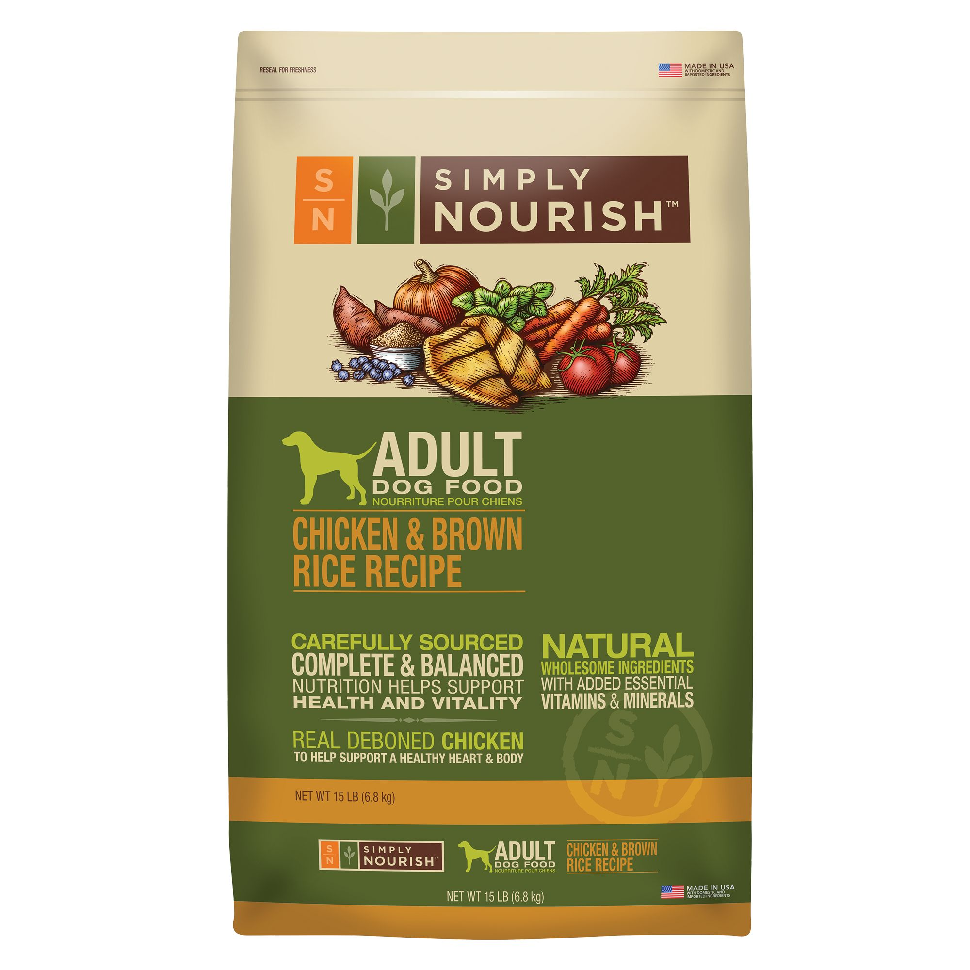 Simply Nourish Adult Dog Food Natural Chicken And Brown Rice Size 15 Lb
