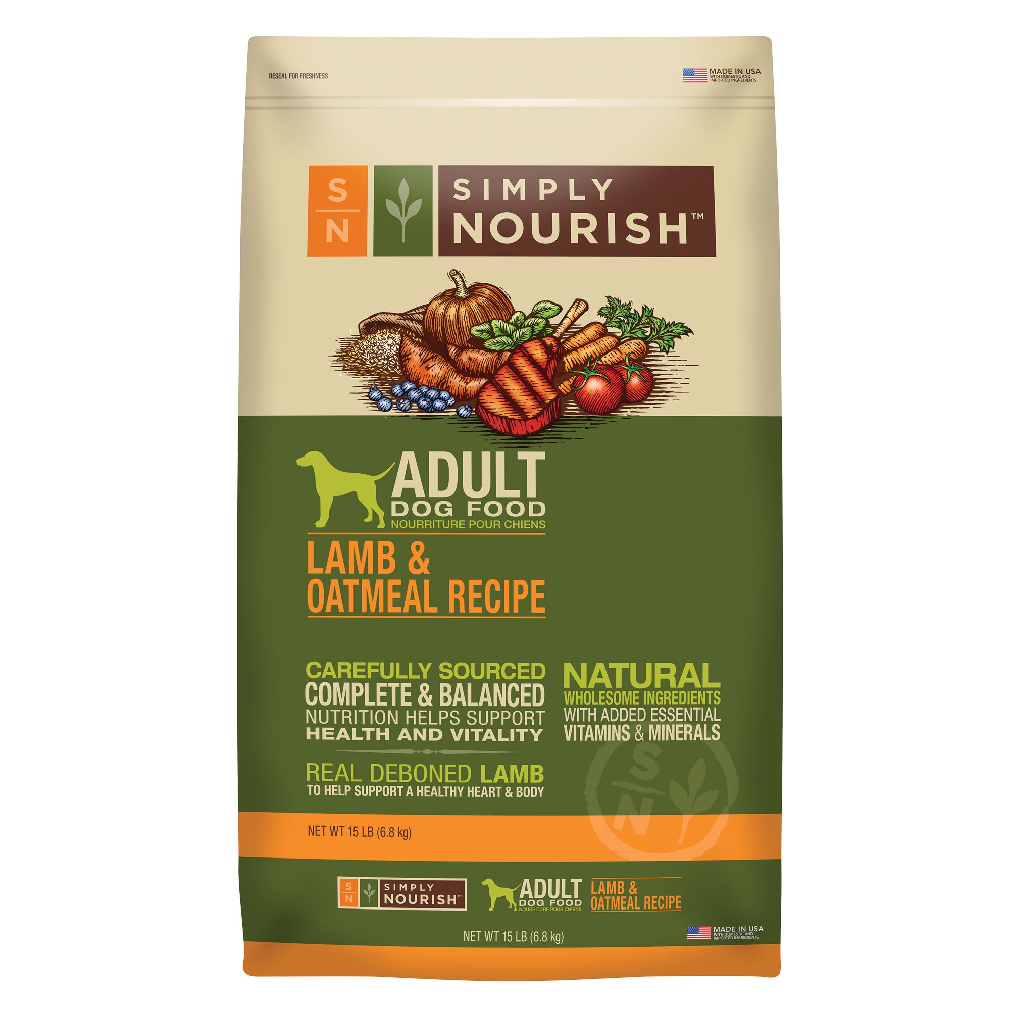 Simply Nourish Adult Dog Food Natural Lamb And Oatmeal Size 15 Lb