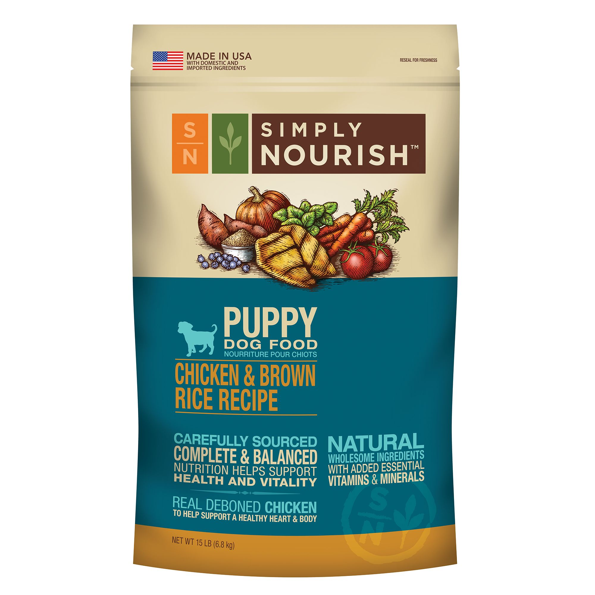 Simply Nourish Puppy Food - Natural, Chicken and Brown Rice size: 15 Lb 5162961