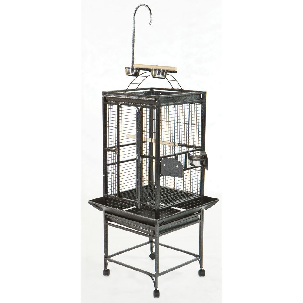 "AandE Cage Company Play Top Bird Cage size: 24""L x 22""W x 62""H, Black, A & E 5166508"