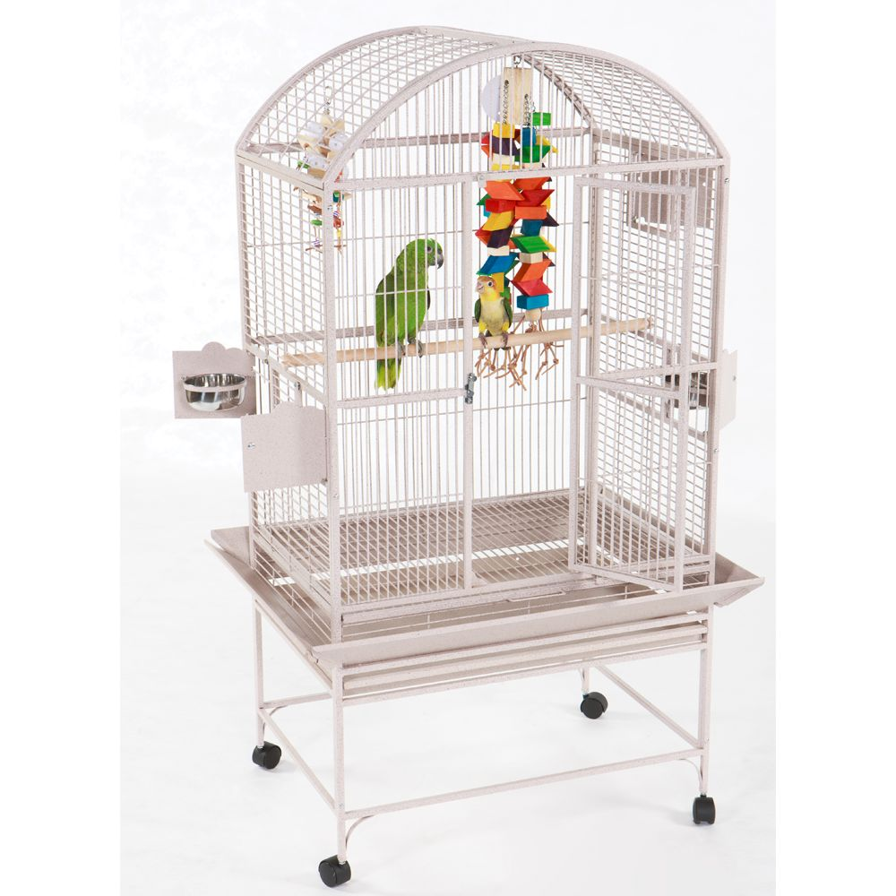 "AandE Cage Company Dome Top Bird Cage size: 32""L x 23""W x 66""H, White 5166510"