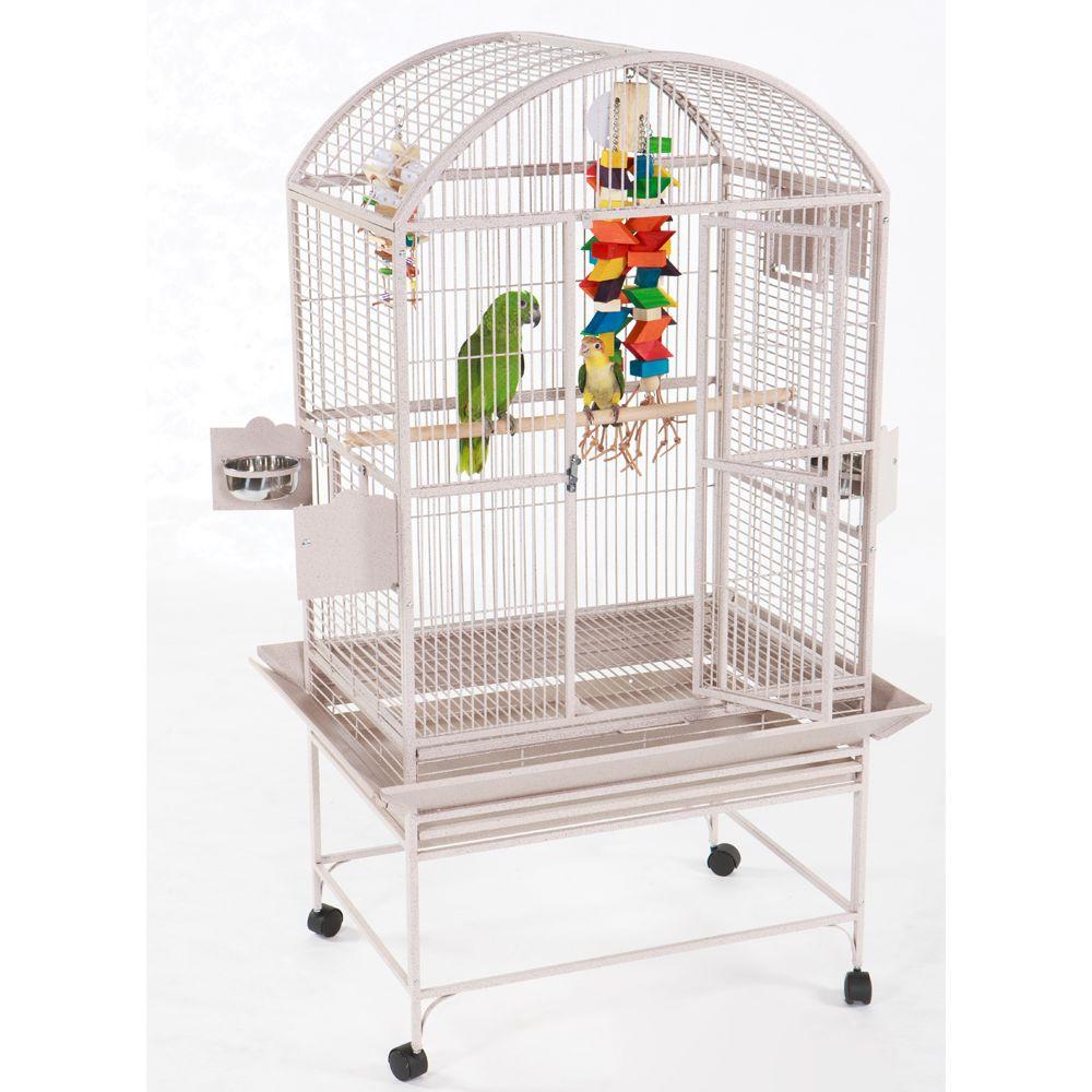 """AandE Cage Company Dome Top Bird Cage size: 32""""L x 23""""W x 66""""H, White, A & E 5166510"""