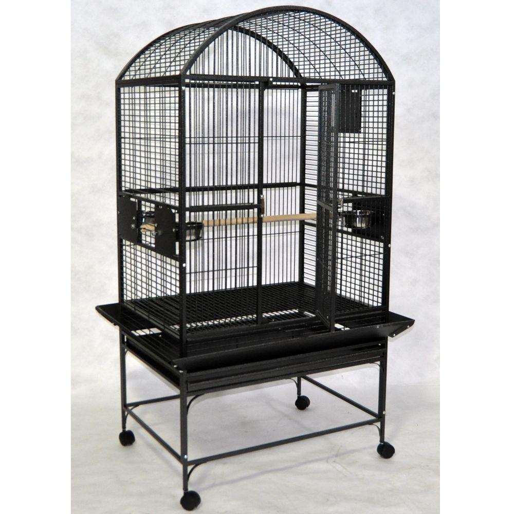 "AandE Cage Company Dome Top Bird Cage size: 32""L x 23""W x 66""H, Black, A & E 5166511"