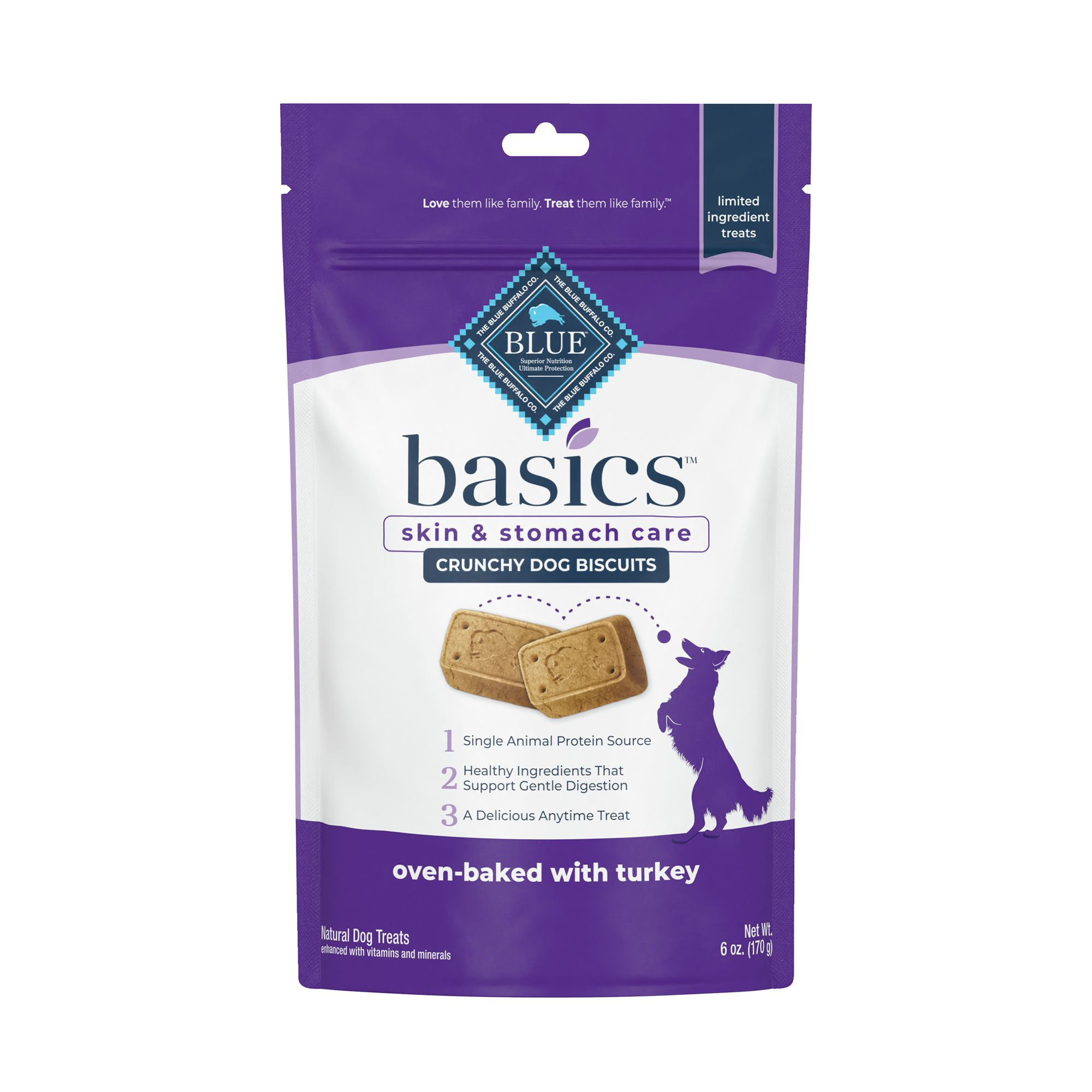 Blue Basics Biscuits Dog Treat Natural Limited Ingredient Size 6 Oz Blue Buffalo
