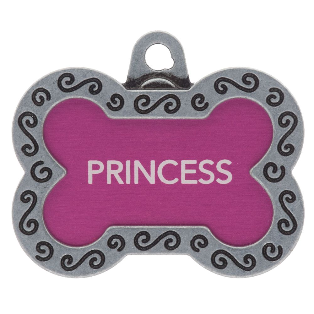 Tagworks Designer Collection Large Bone Personalized Pet Id Tag Size Large Pink