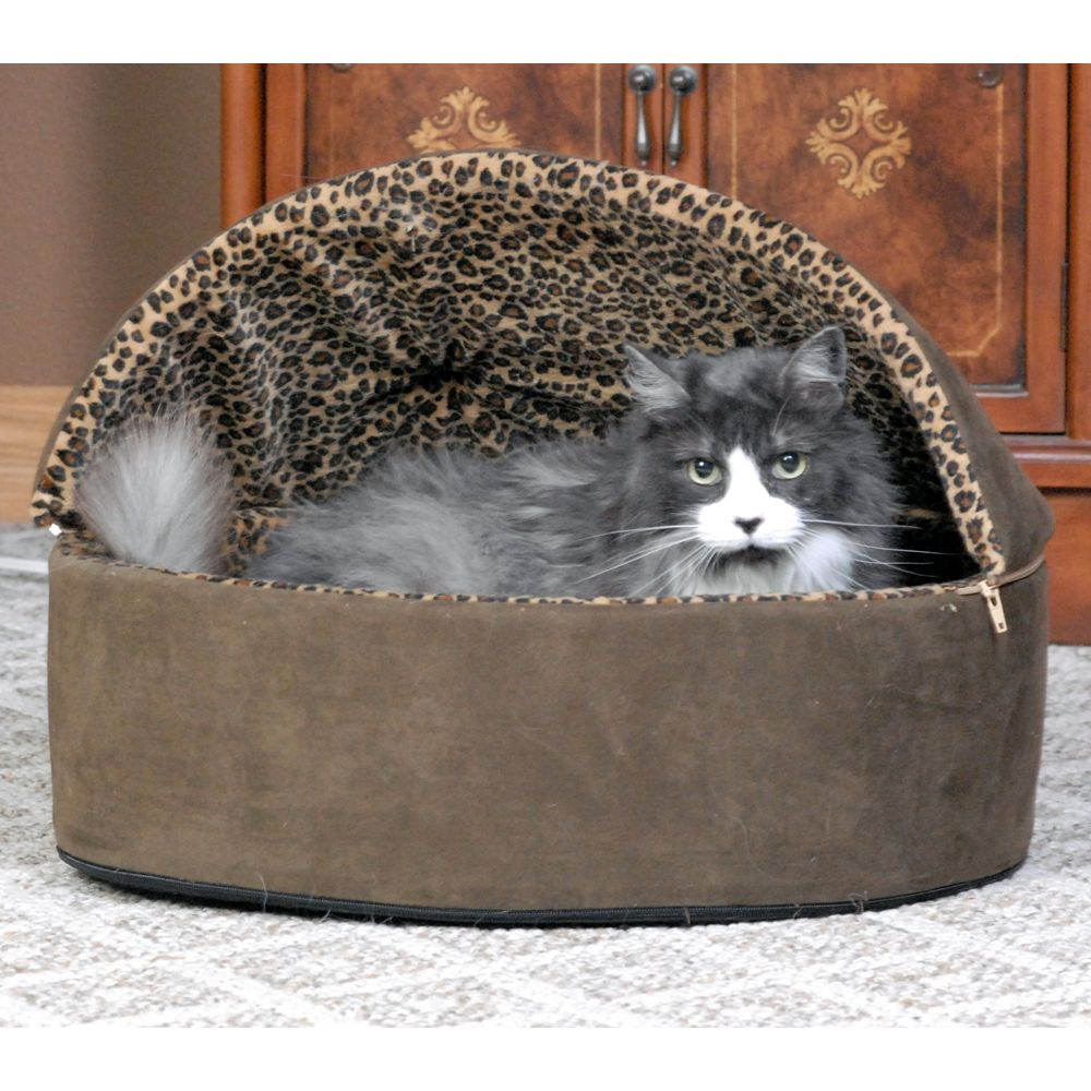 "Thermo-Kitty Bed, Deluxe Hooded Leopard Heated Cat Bed size: 20""L x 20""W x 14""H, Brown, K & H"