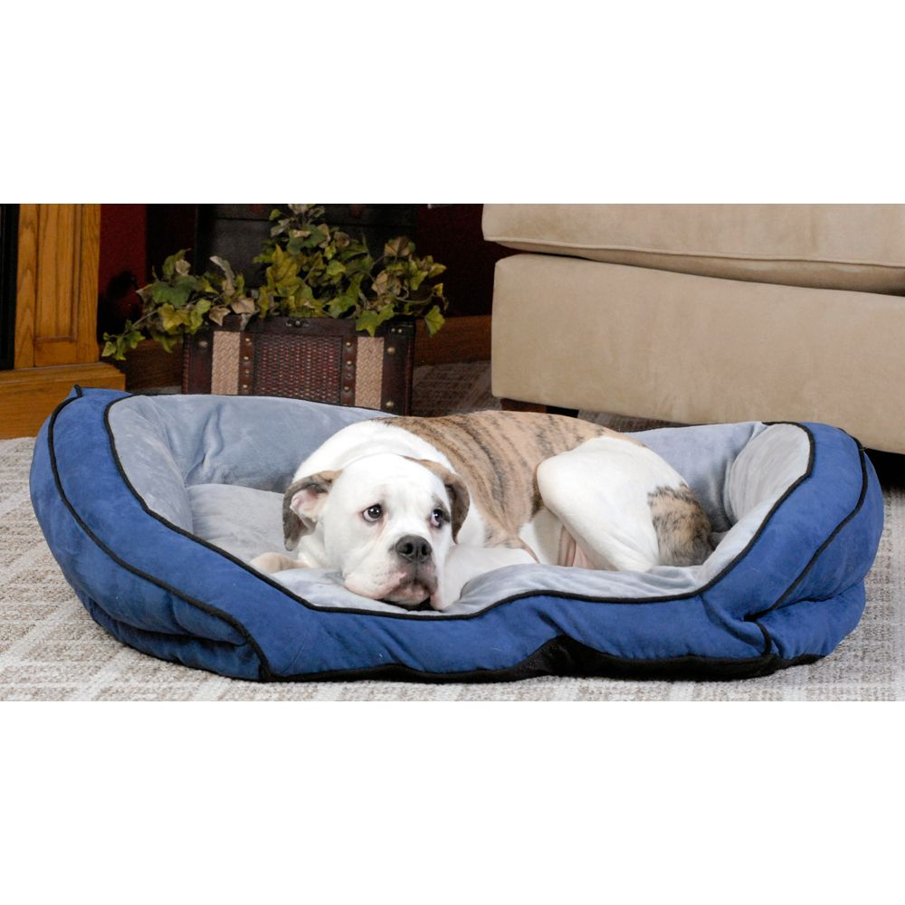 """KandH Bolster Couch Pet Bed size: 40""""L x 28""""W, Blue"""