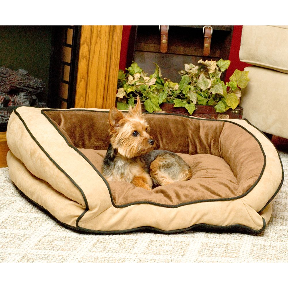 "KandH Bolster Couch Pet Bed size: 30""L x 21""W, Brown, K & H"